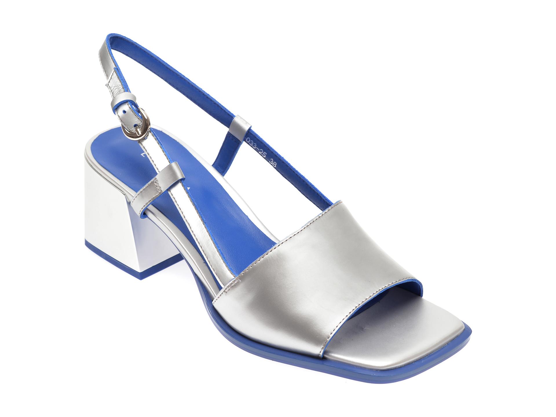 Sandale EPICA argintii, 70332, din piele naturala