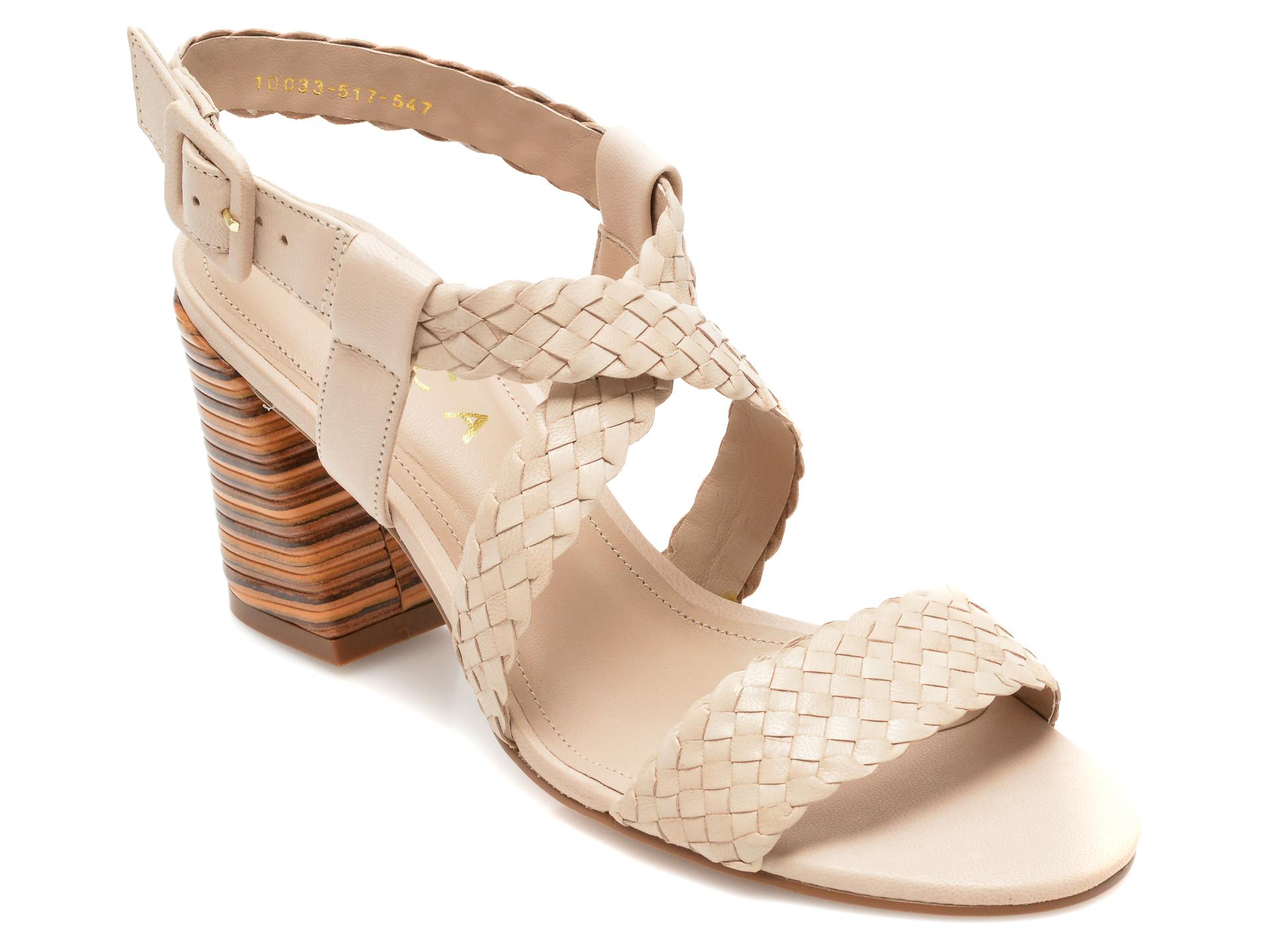 Sandale EPICA bej, 1003547, din piele naturala imagine otter.ro