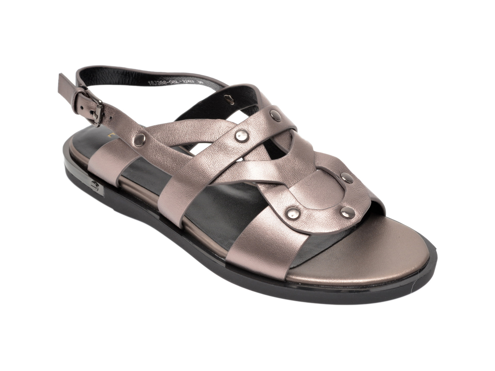 Sandale EPICA gri, 18J3880, din piele naturala imagine