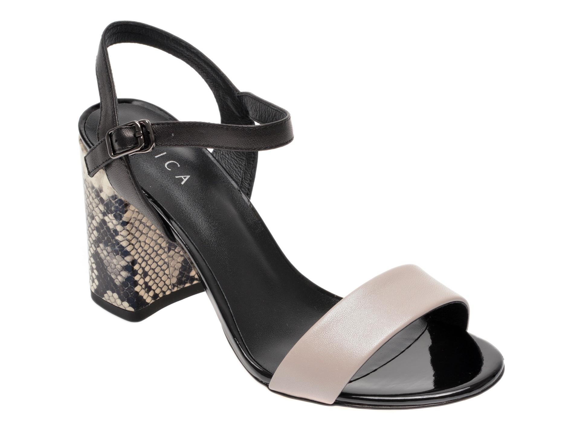 Sandale EPICA gri, 8D1149G, din piele naturala