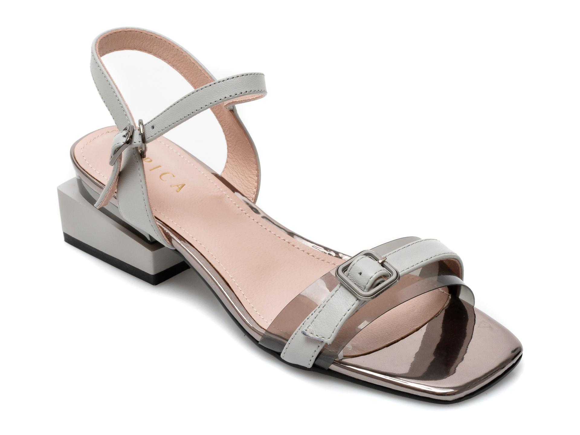 Sandale EPICA gri, 8D1355G, din piele naturala imagine otter.ro 2021