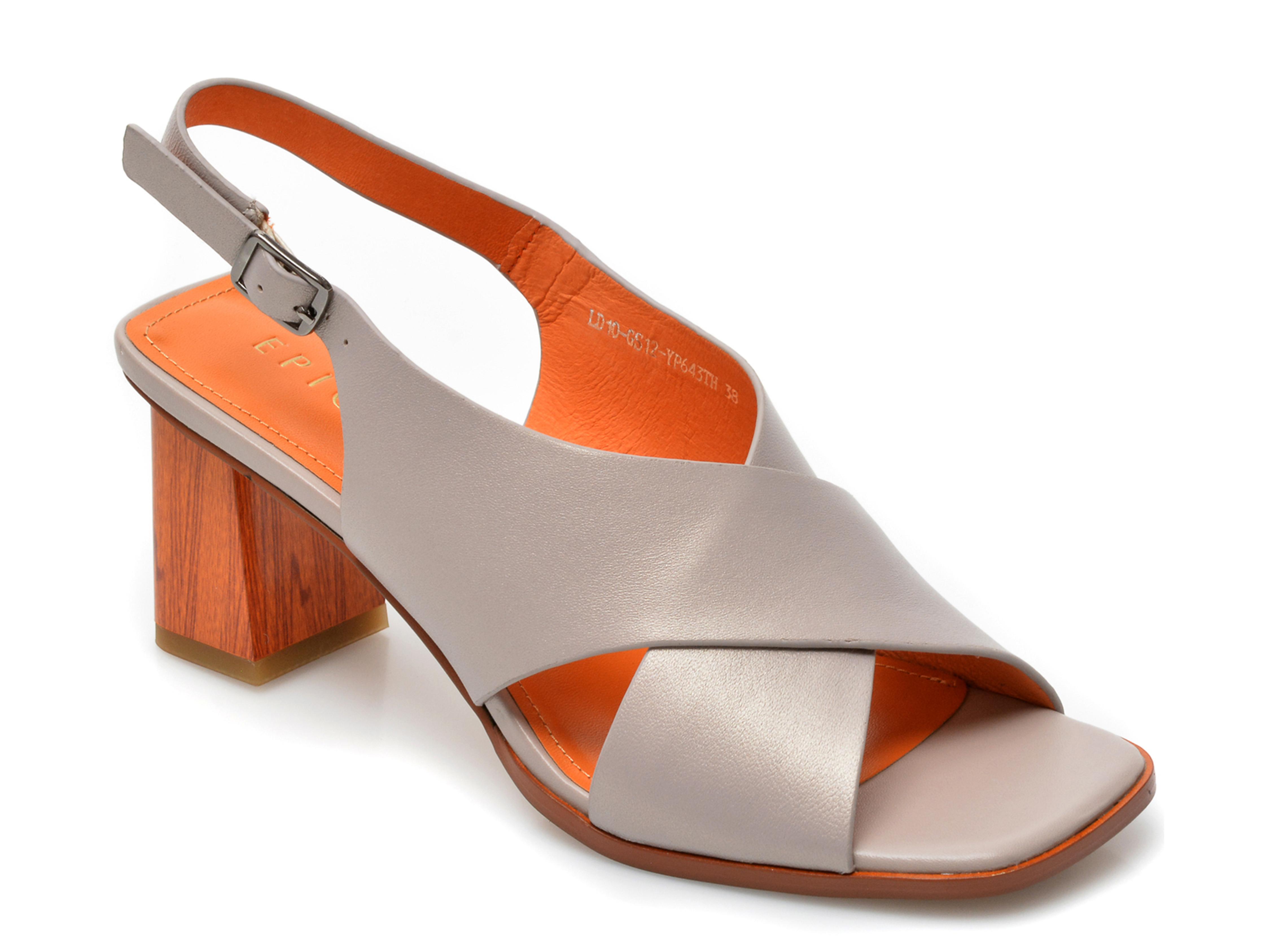 Sandale EPICA gri, LD10GS1, din piele naturala imagine otter.ro 2021