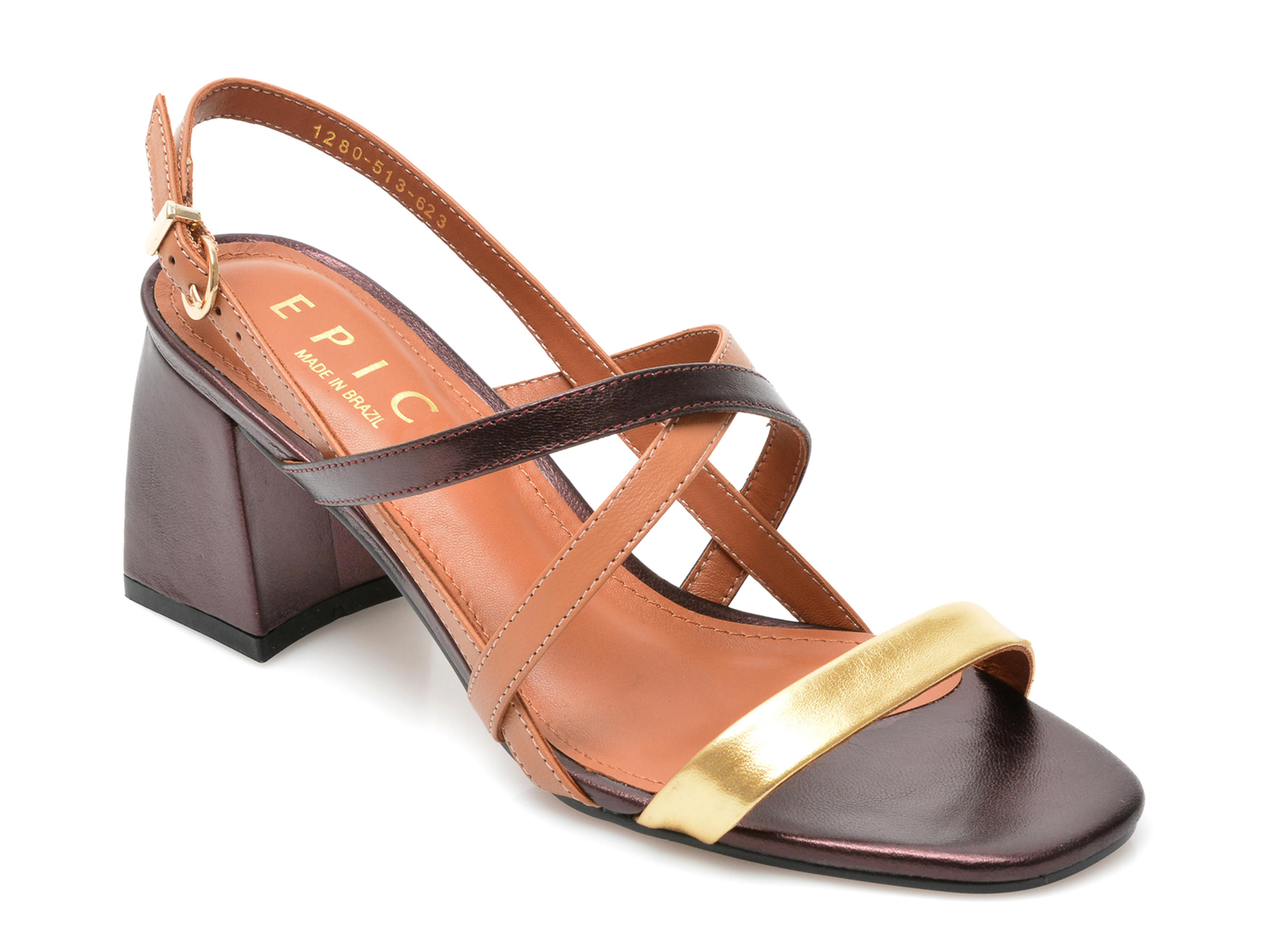 Sandale EPICA maro, 1280623, din piele naturala imagine otter.ro 2021