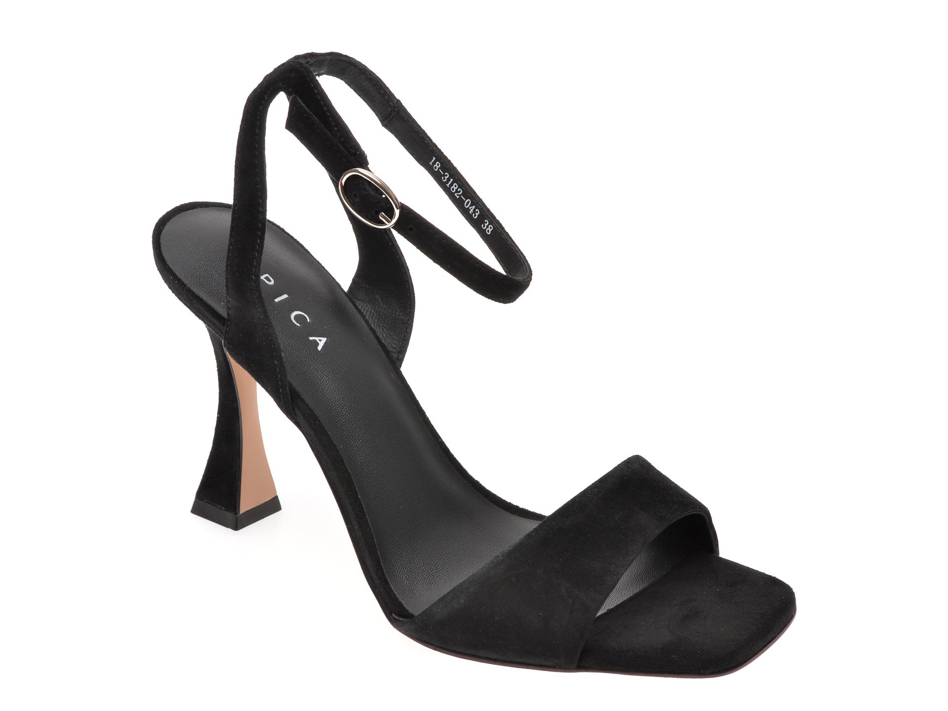 Sandale EPICA negre, 1831820, din piele intoarsa