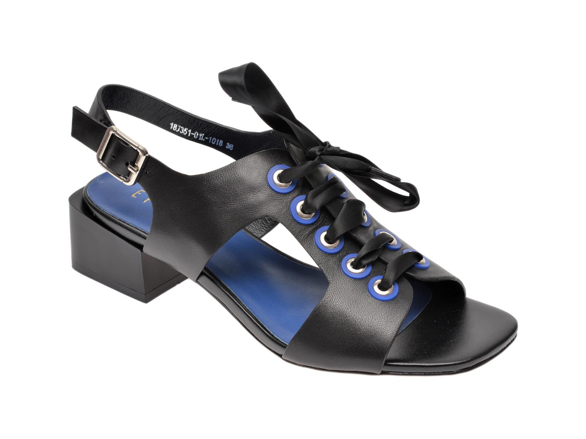 Sandale EPICA negre, 18J3510, din piele naturala imagine