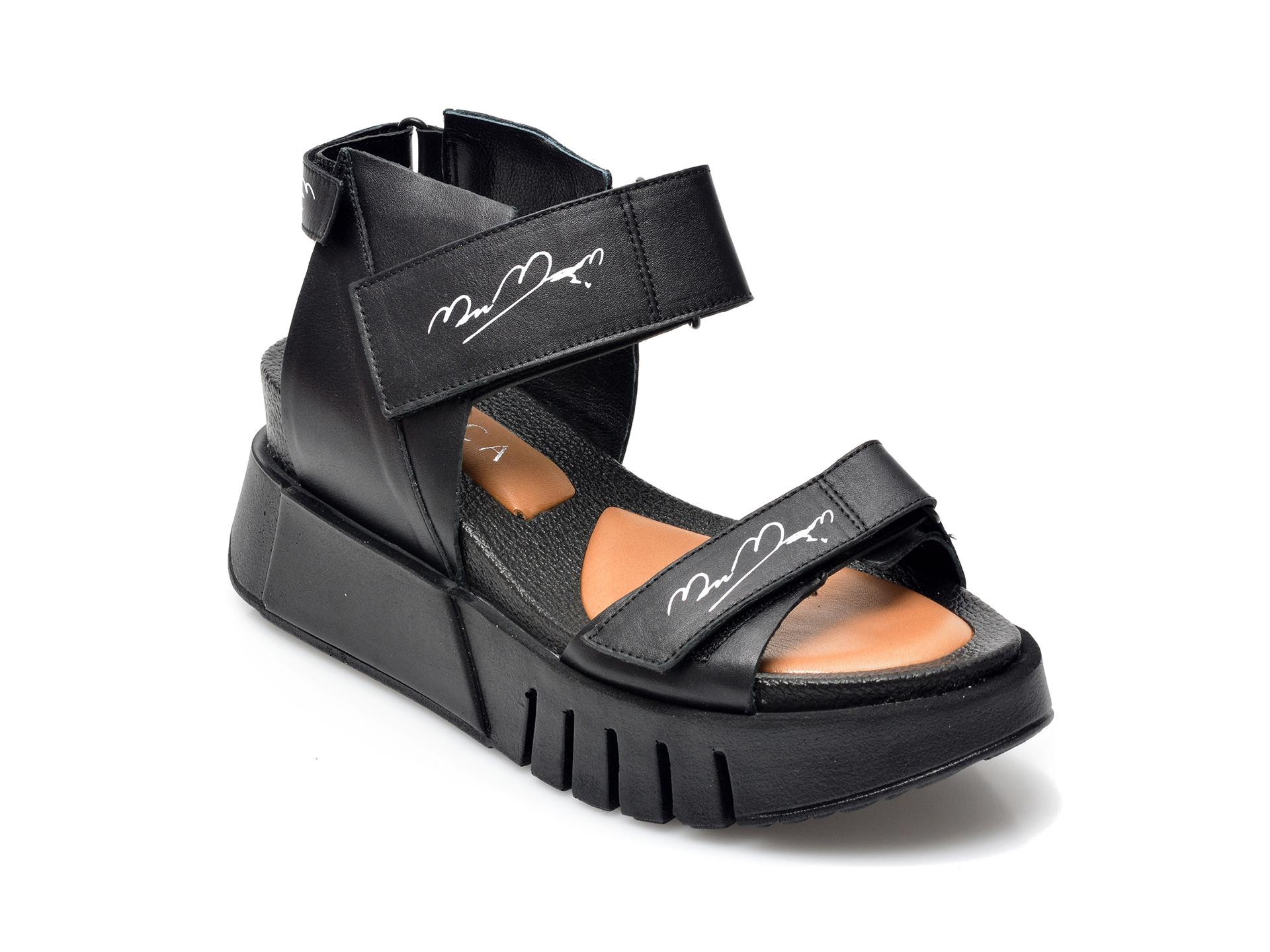 Sandale EPICA negre, 44173, din piele naturala imagine otter.ro 2021