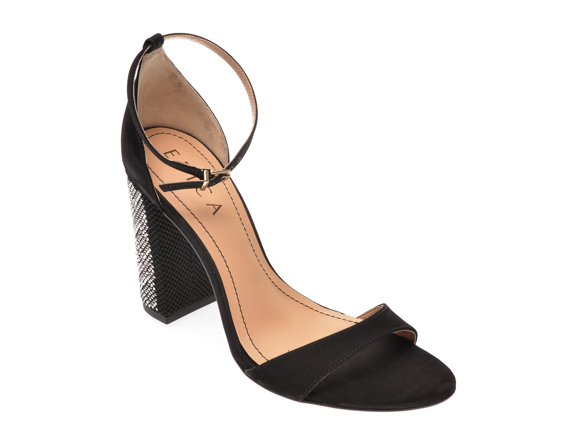 Sandale EPICA negre, 620395, din nabuc