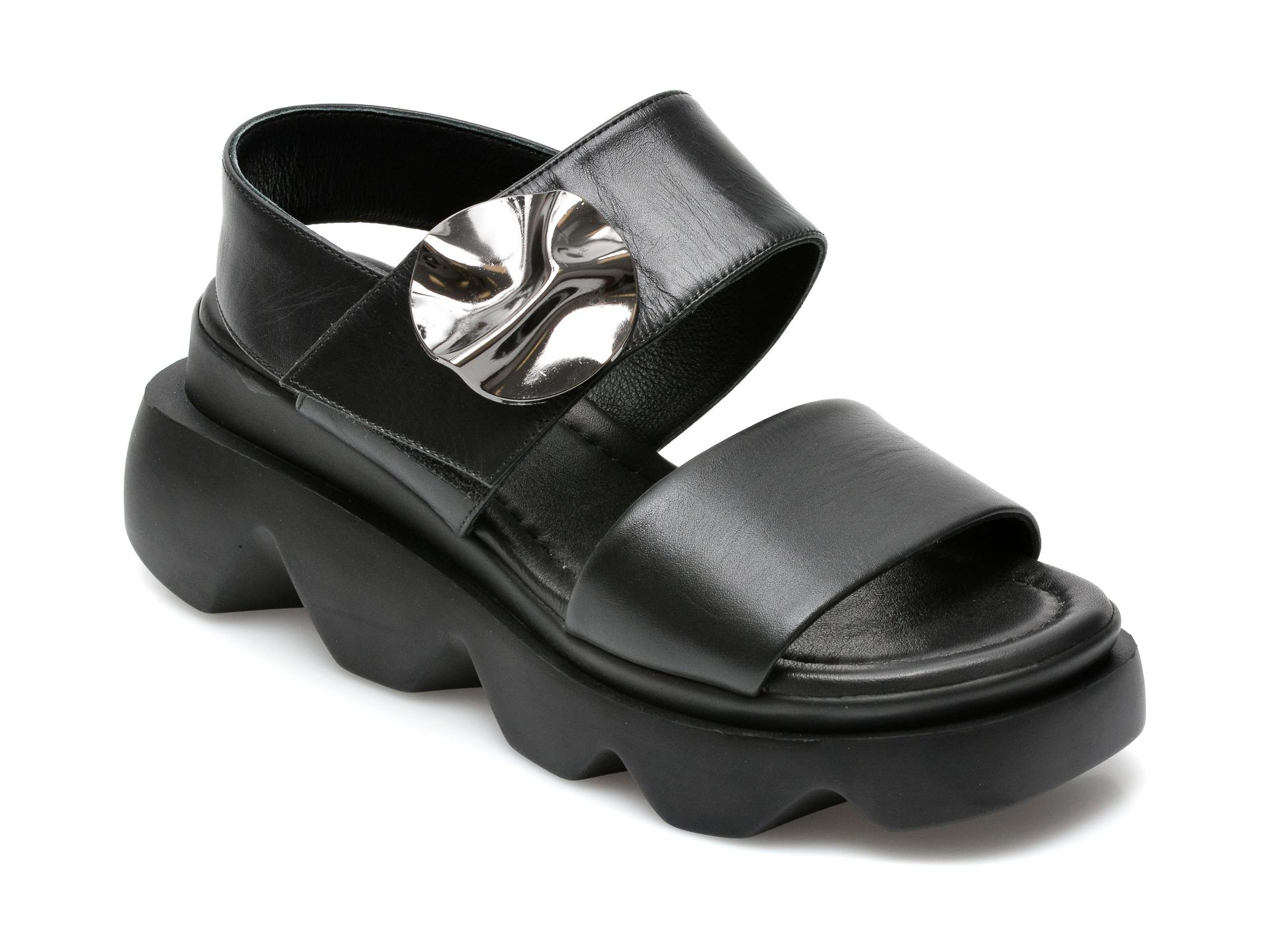 Sandale EPICA negre, 6292471, din piele naturala