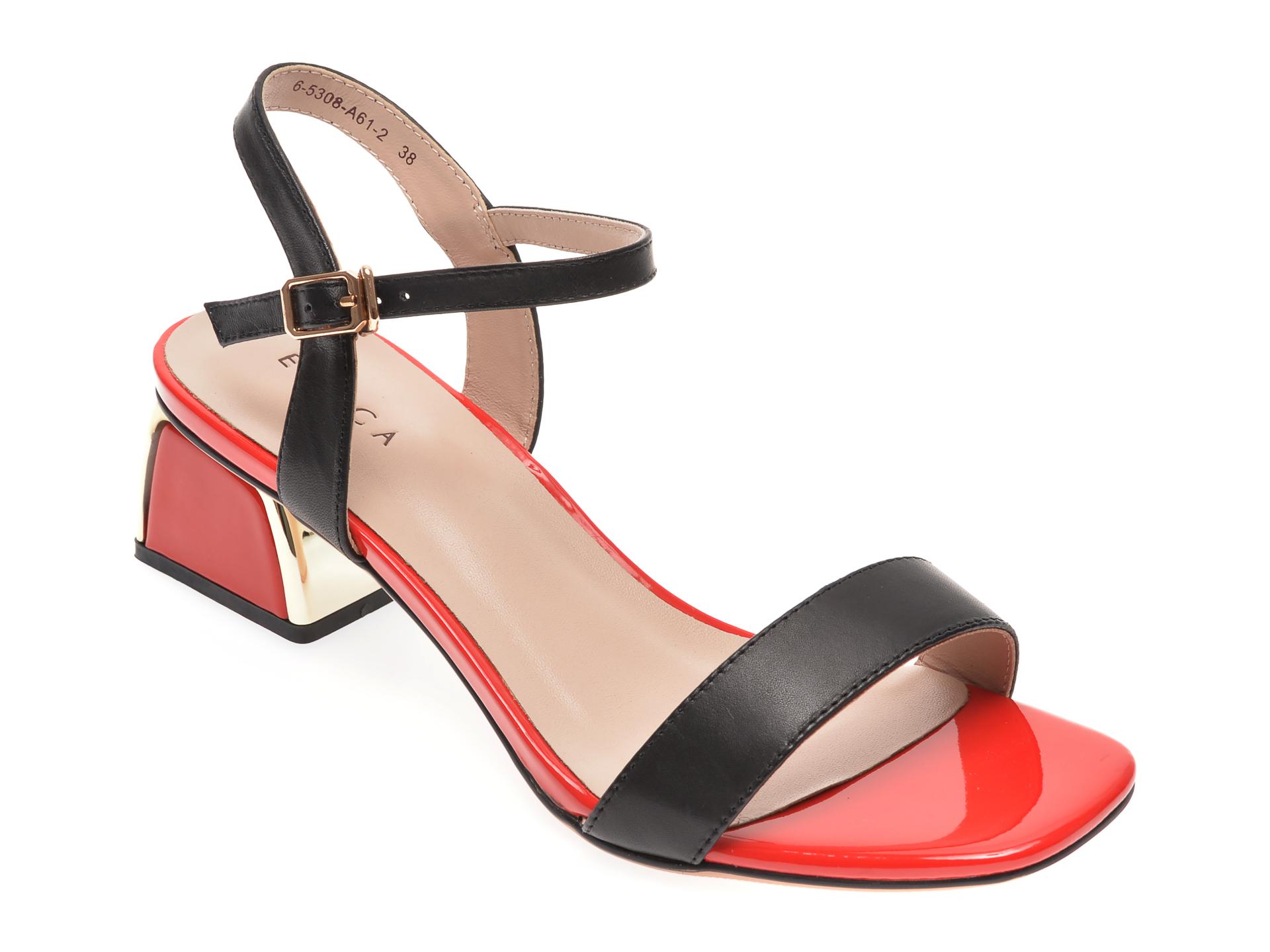Sandale EPICA negre, 65308A6, din piele naturala