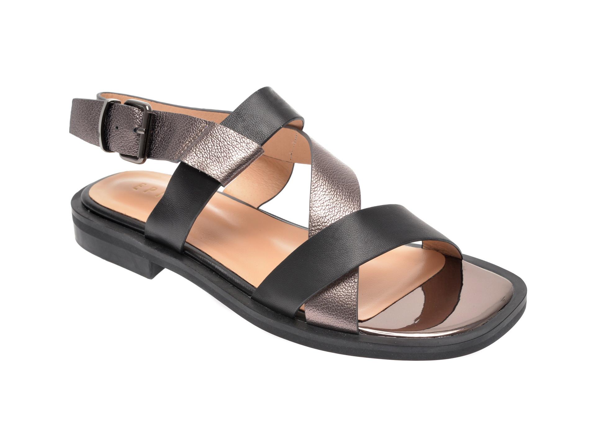 Sandale EPICA negre, 7486907, din piele naturala
