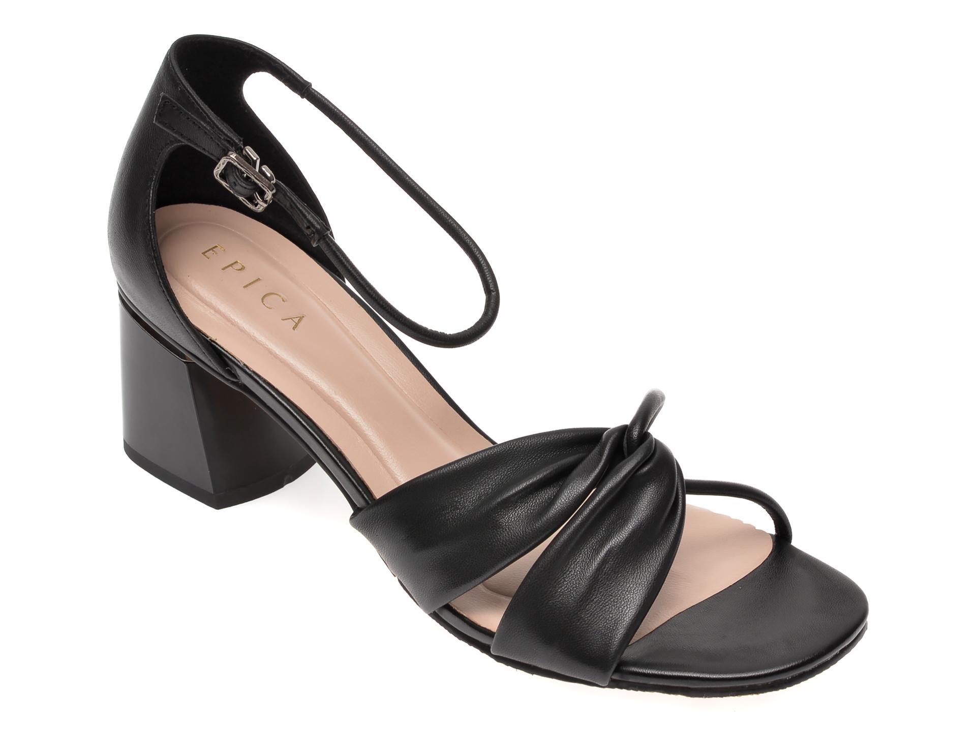 Sandale EPICA negre, CL026Y3, din piele naturala