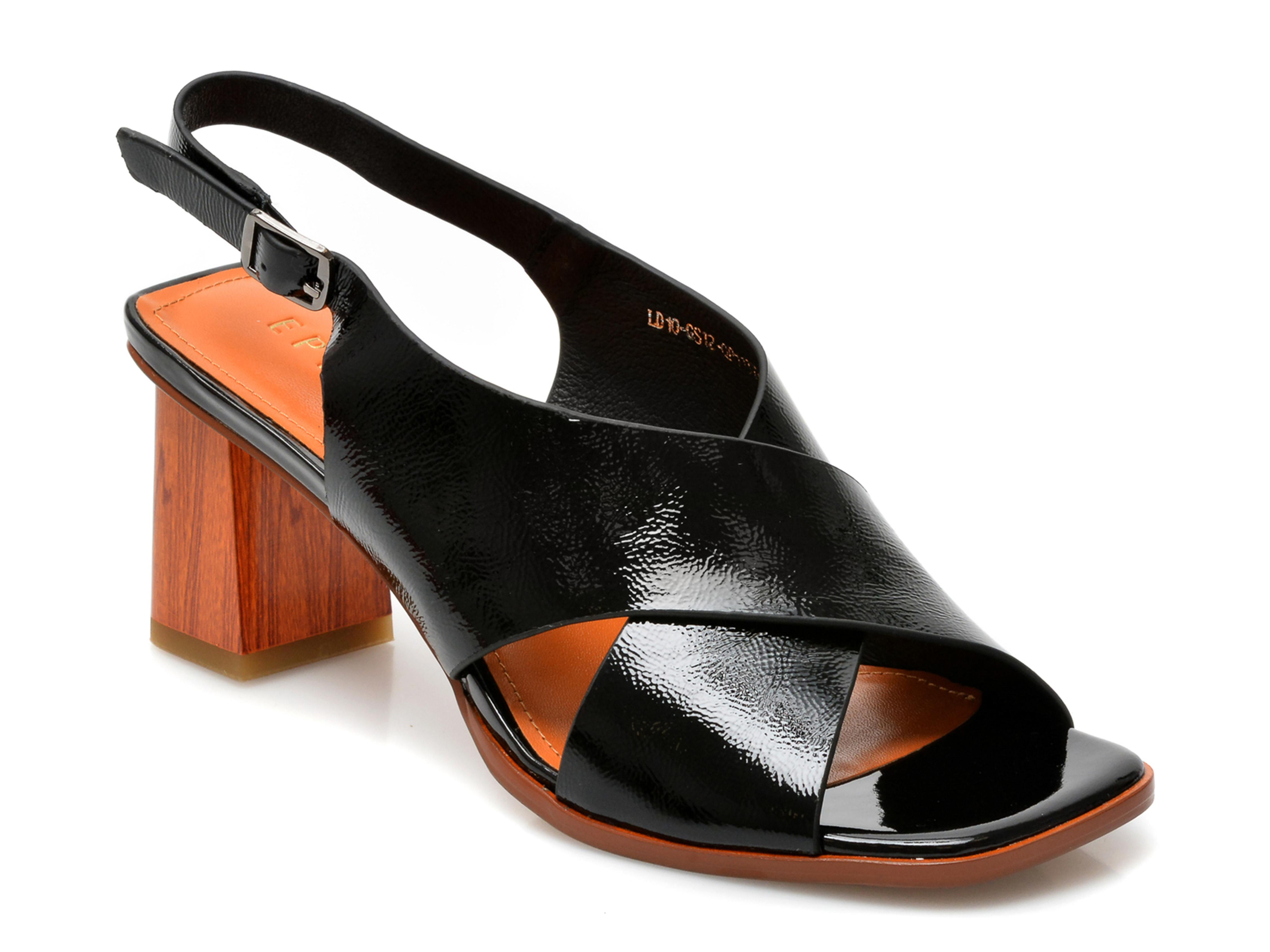 Sandale EPICA negre, LD10GS1, din piele naturala lacuita imagine otter.ro 2021