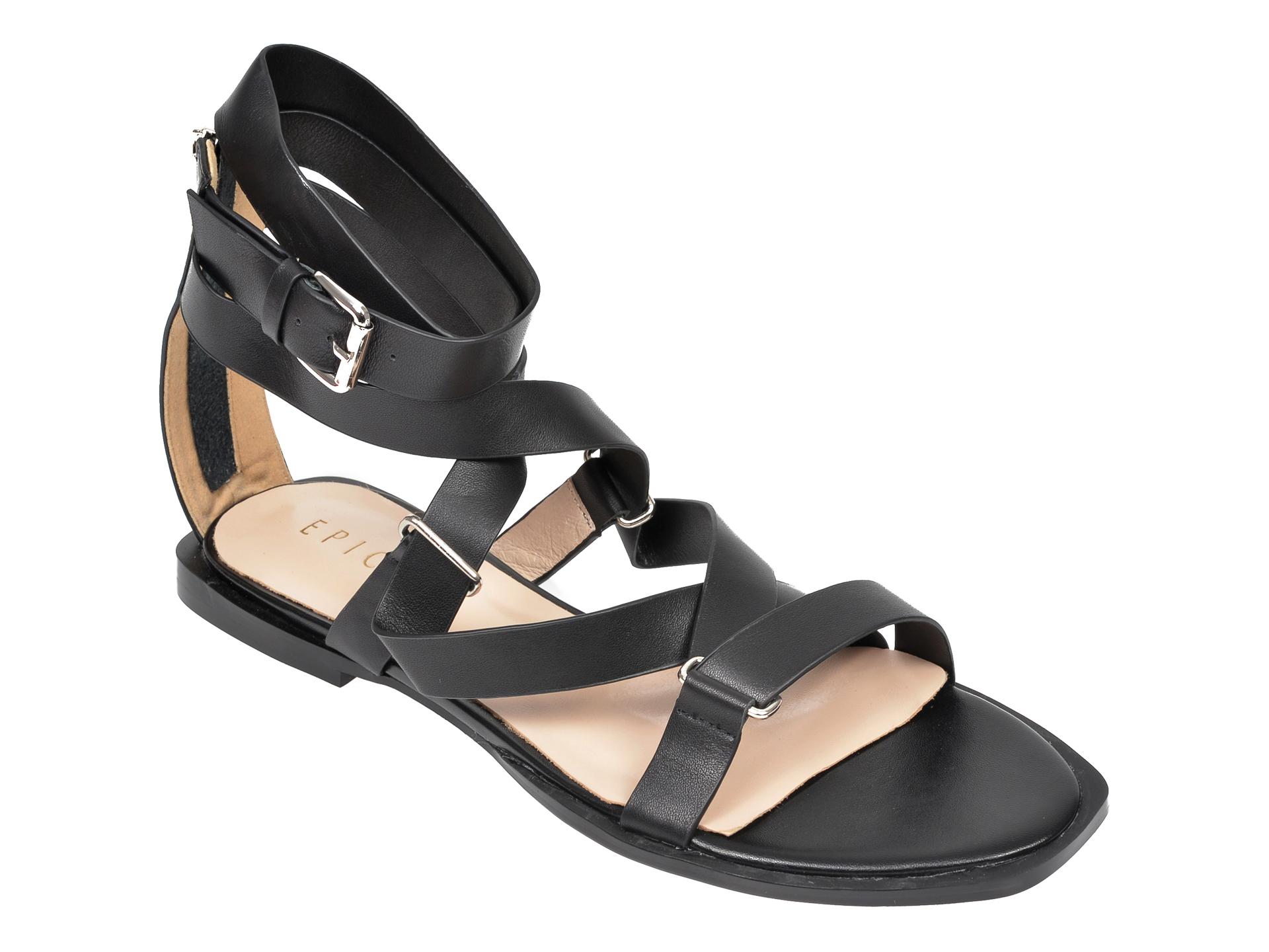 Sandale EPICA negre, NW9828N, din piele naturala imagine