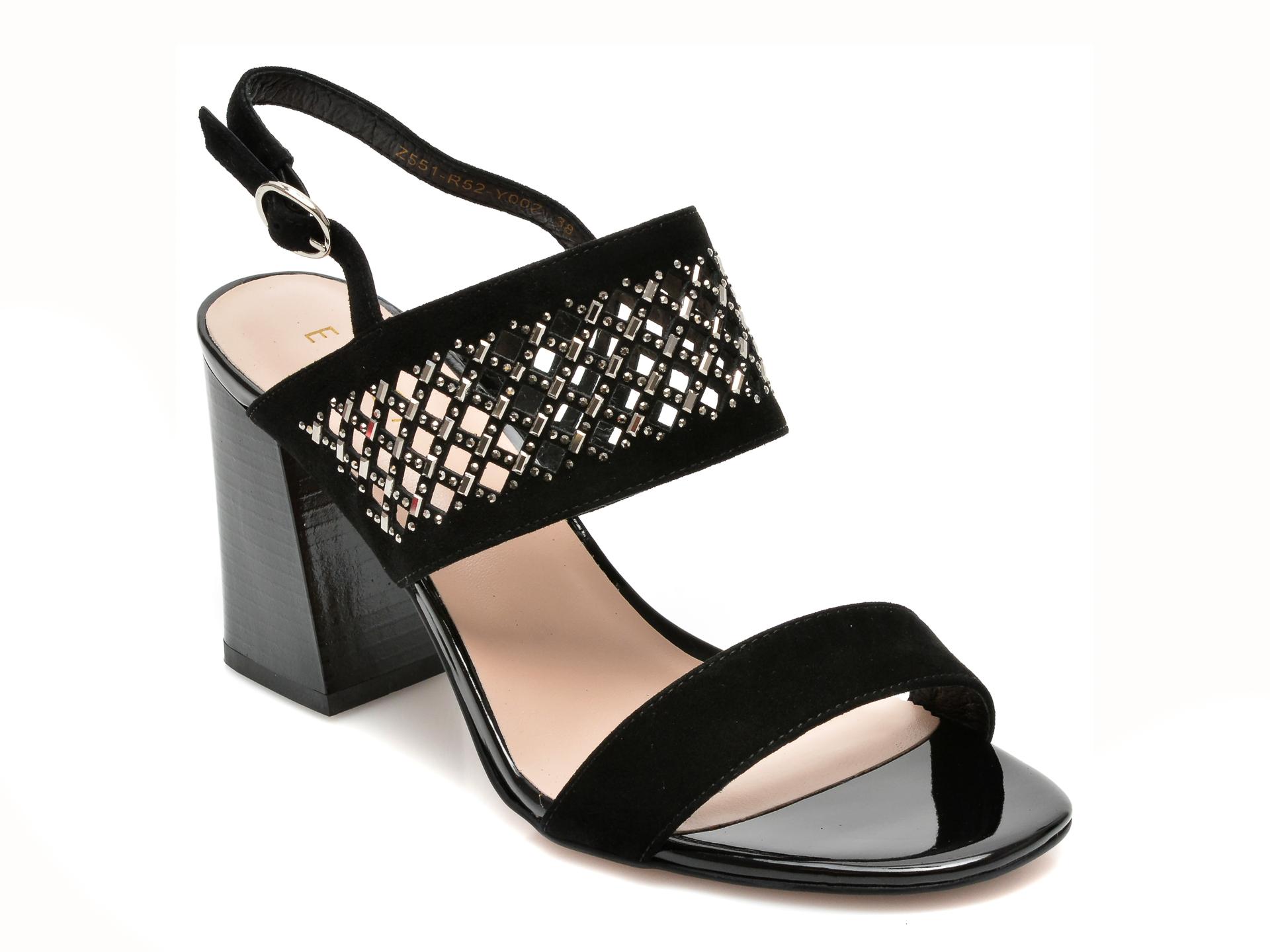 Sandale EPICA negre, Z551R52, din piele intoarsa