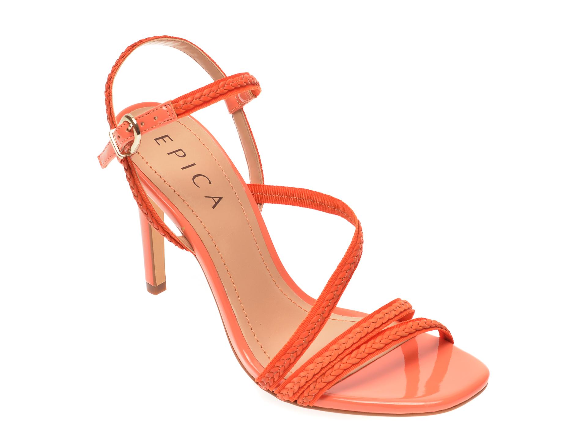 Sandale EPICA portocalii, 7128, din material textil