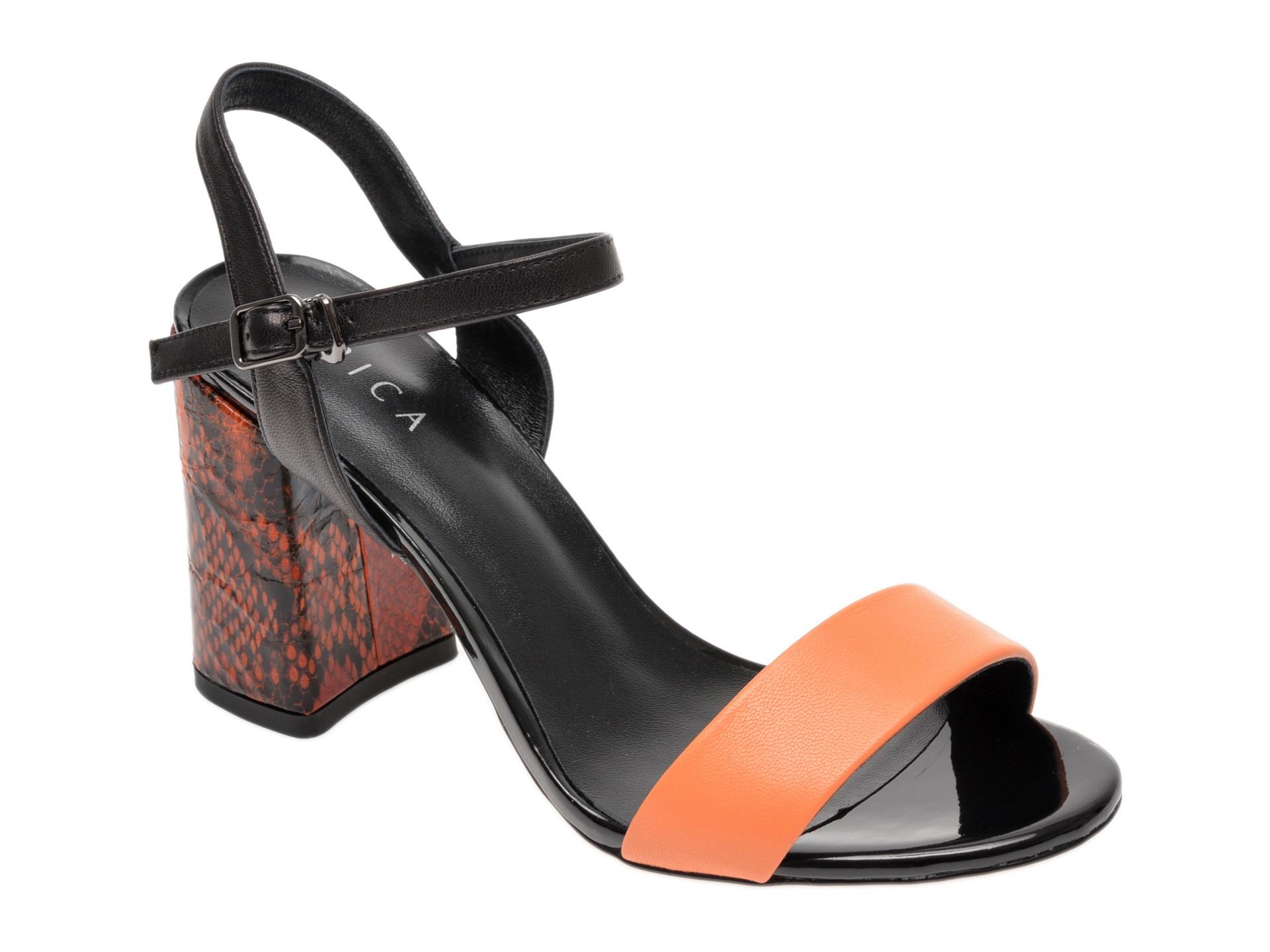 Sandale EPICA portocalii, 8D1149G, din piele naturala