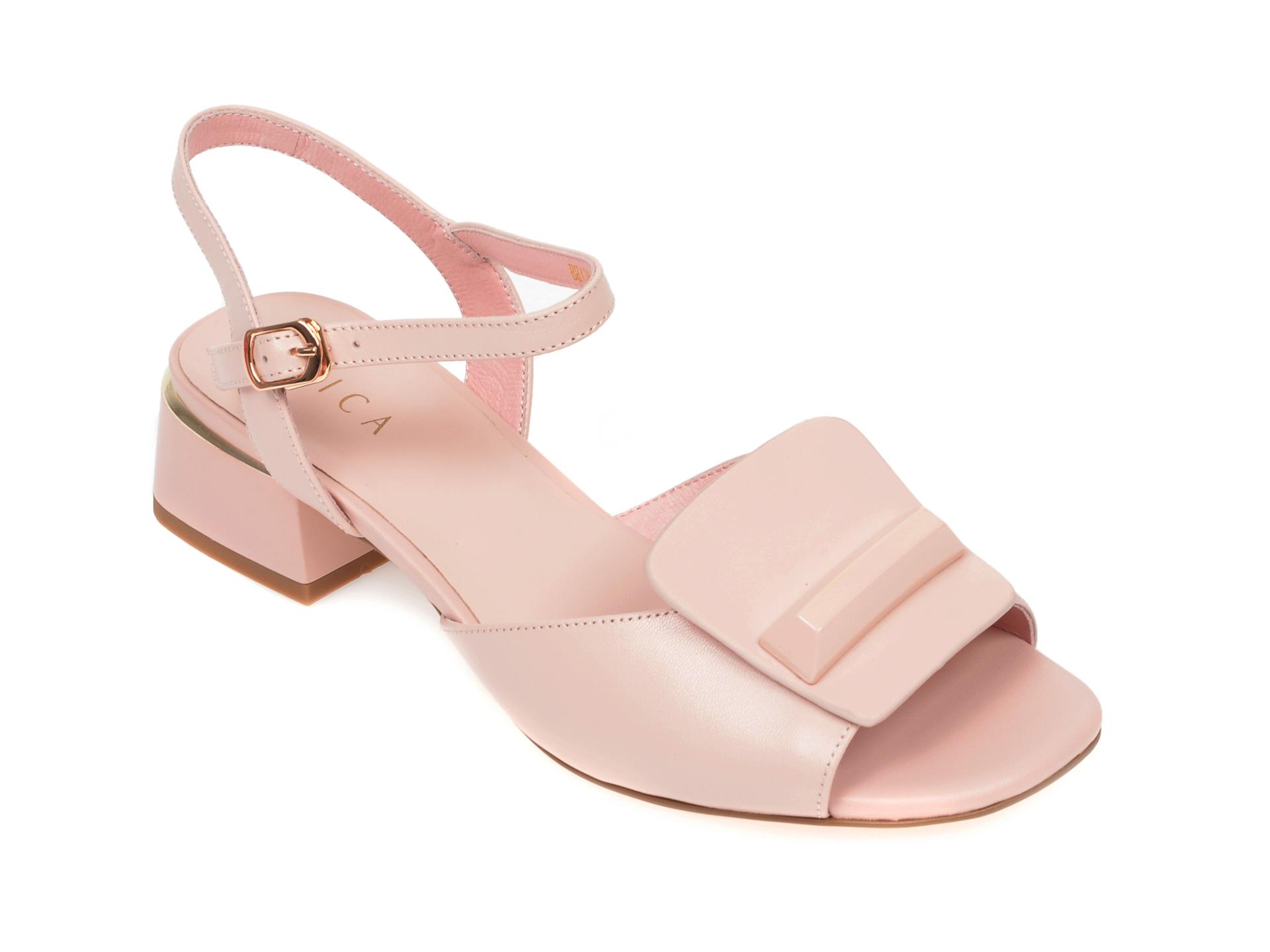 Sandale EPICA roz, BH179, din piele naturala New
