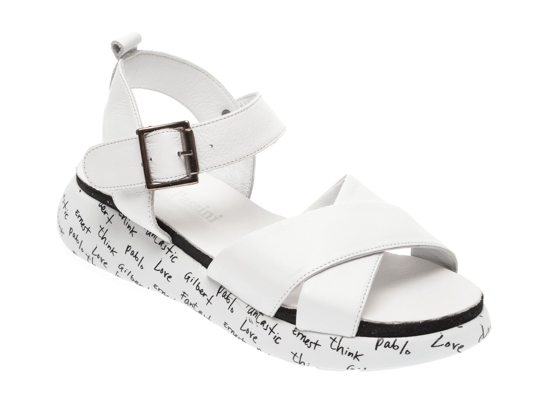 Sandale FLAVIA PASSINI albe, 0101063, din piele naturala