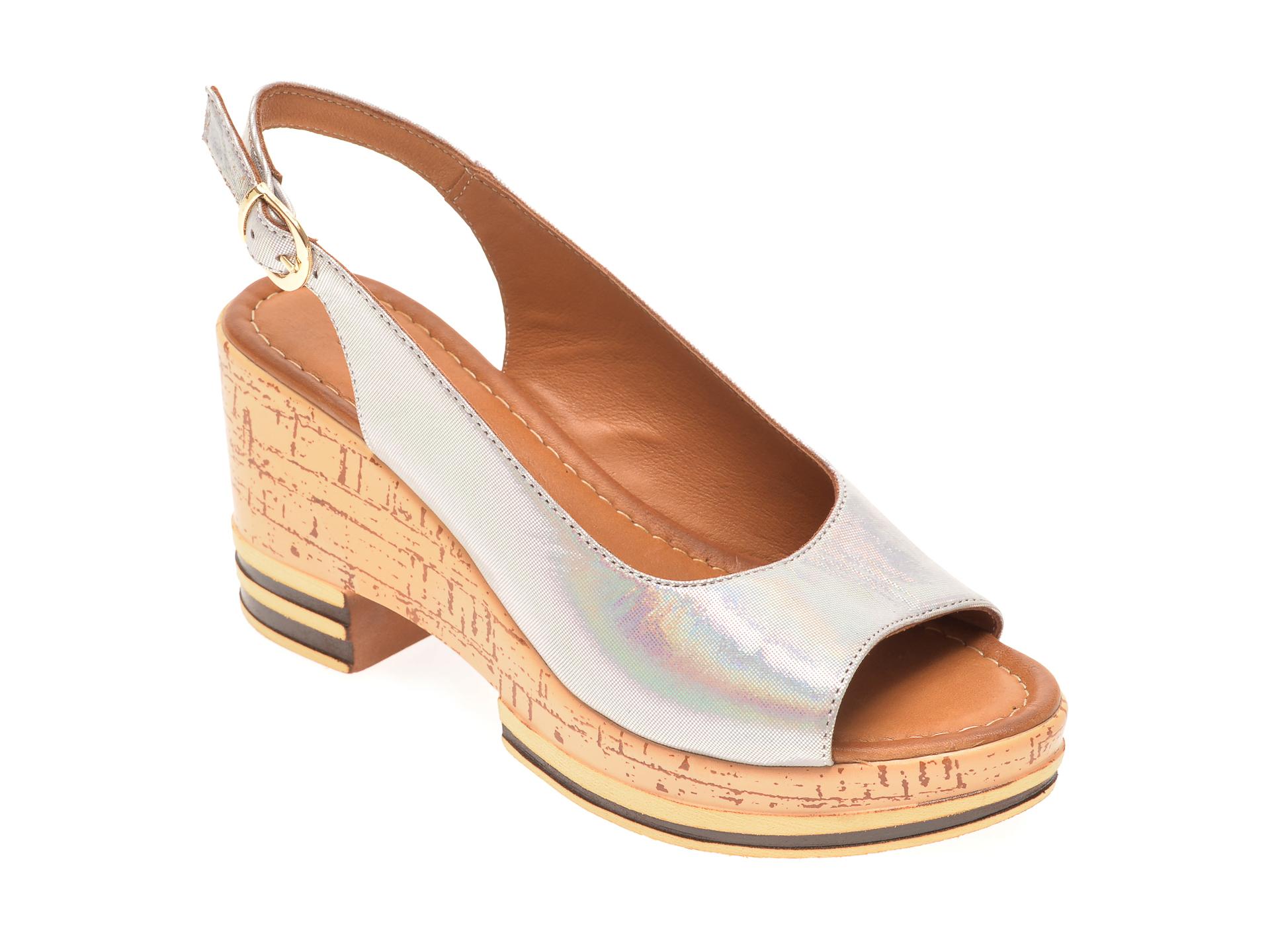 Sandale FLAVIA PASSINI argintii, 1182724, din piele naturala New