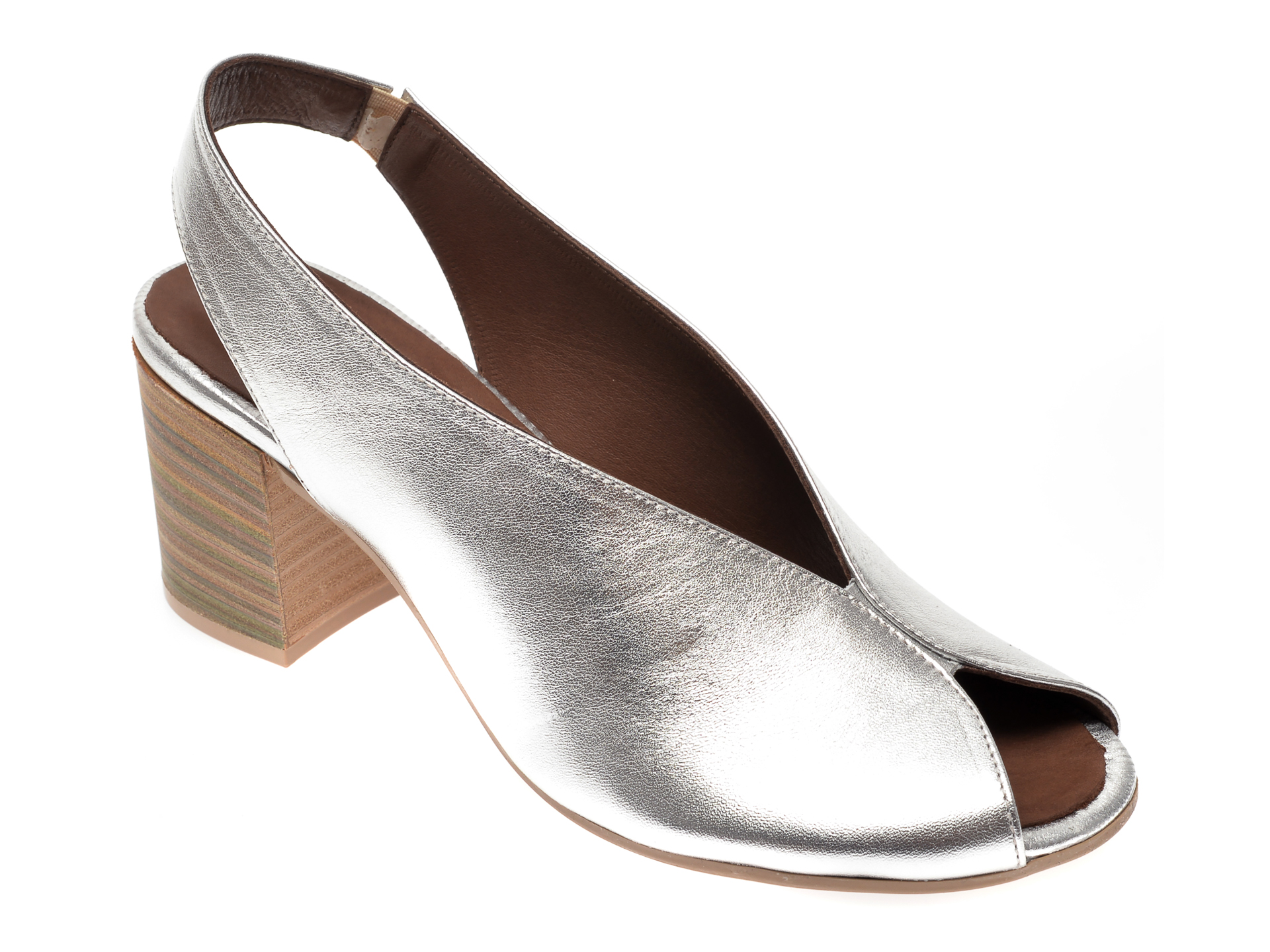 Sandale FLAVIA PASSINI argintii, 1806, din piele naturala