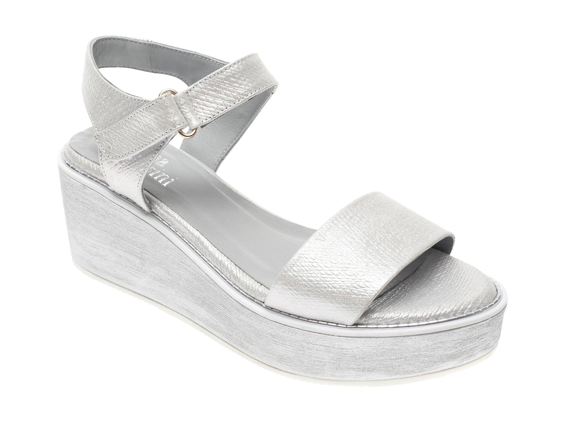 Sandale FLAVIA PASSINI argintii, 887, din piele naturala