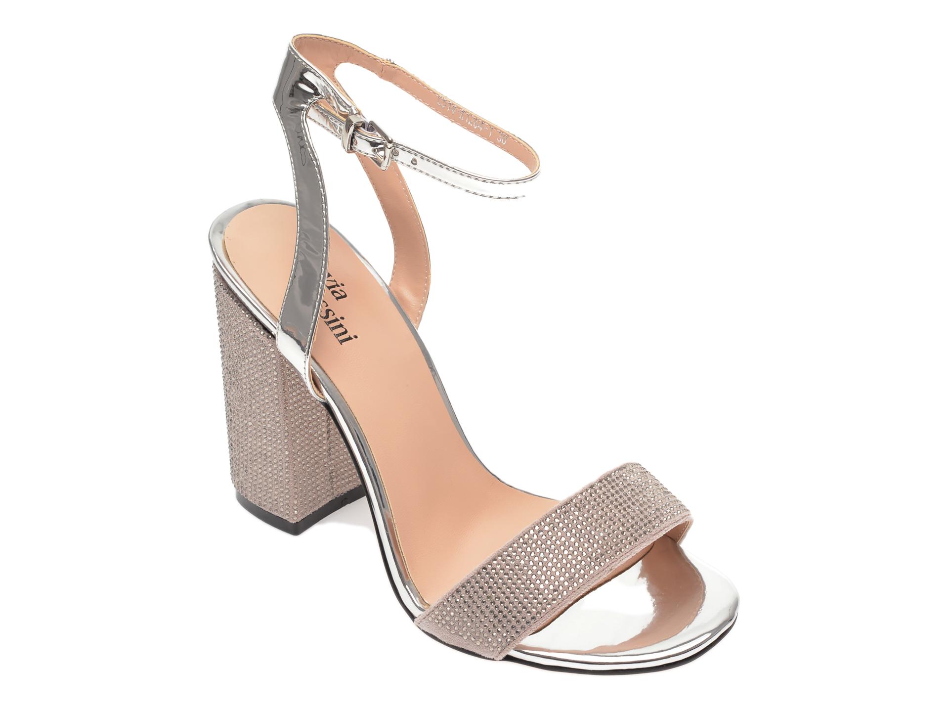 Sandale FLAVIA PASSINI argintii, C514K12, din piele ecologica