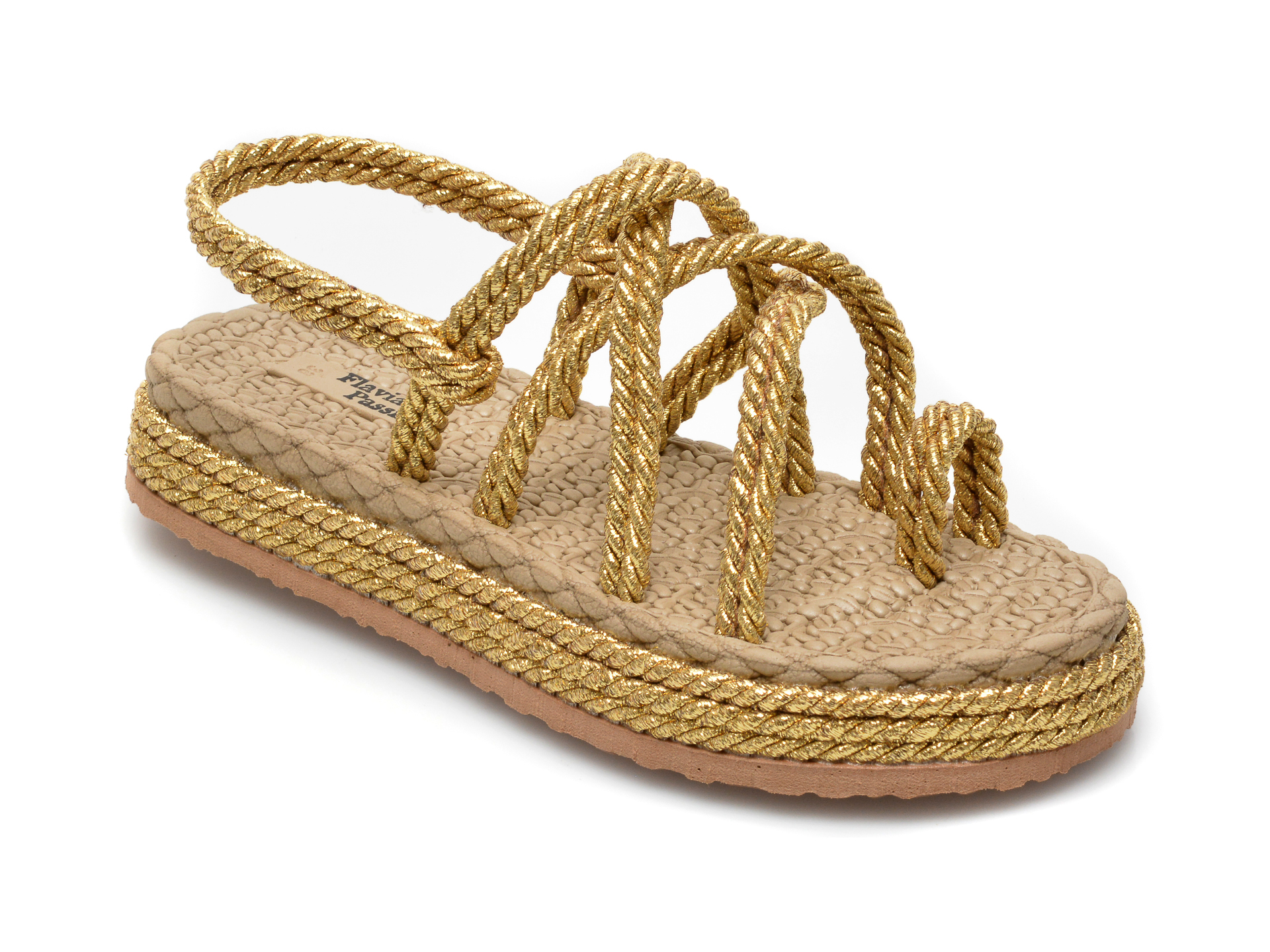 Sandale FLAVIA PASSINI aurii, 1007, din material textil imagine otter.ro 2021
