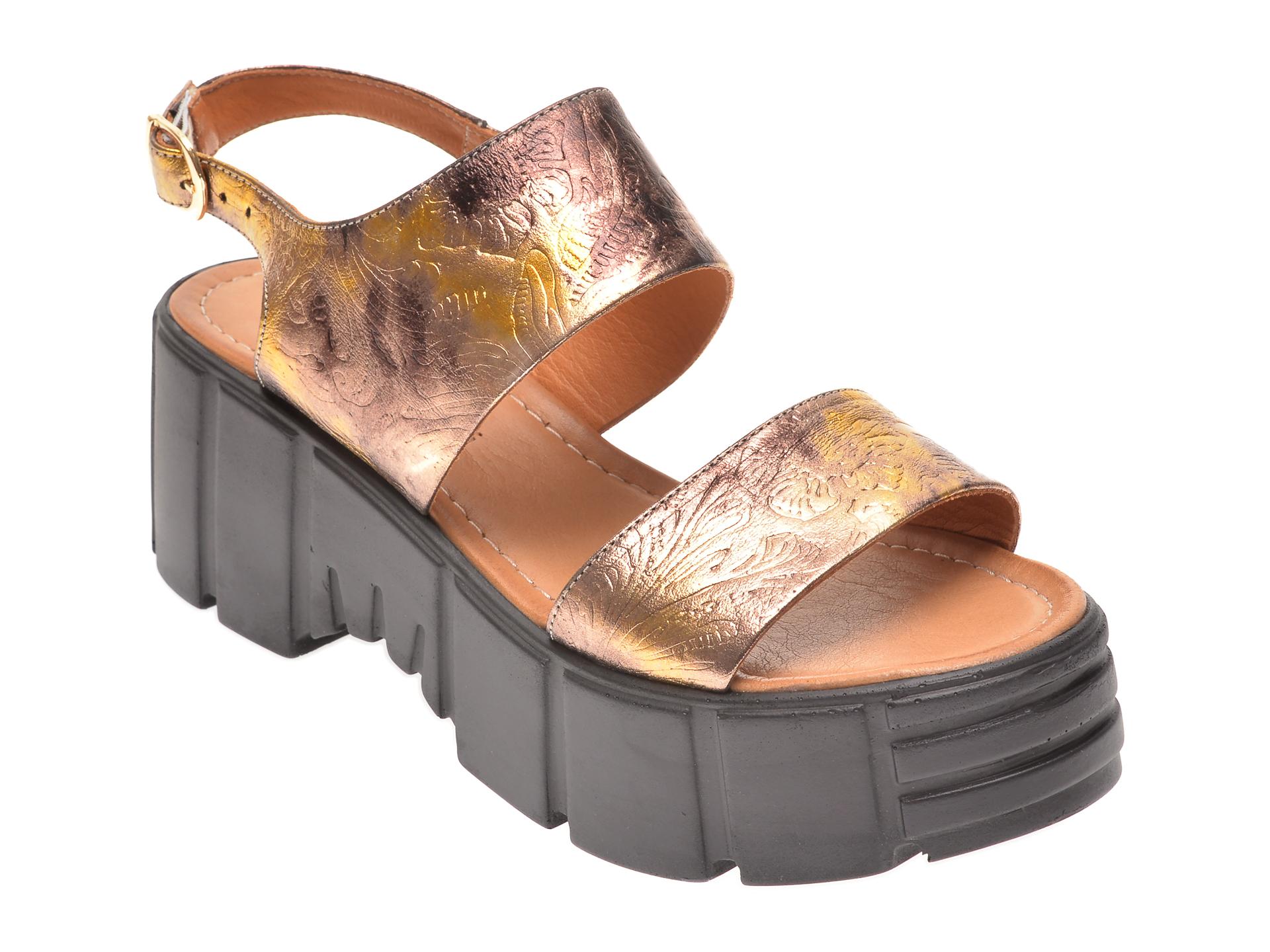 Sandale FLAVIA PASSINI aurii, 2252, din piele naturala