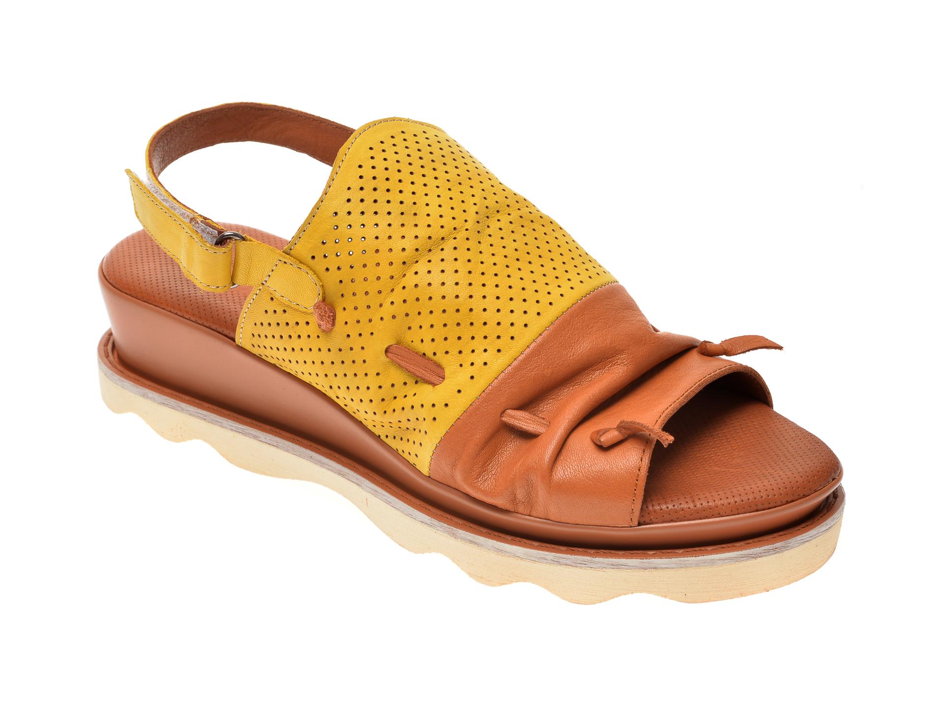 Sandale FLAVIA PASSINI galbene, 0206, din piele naturala