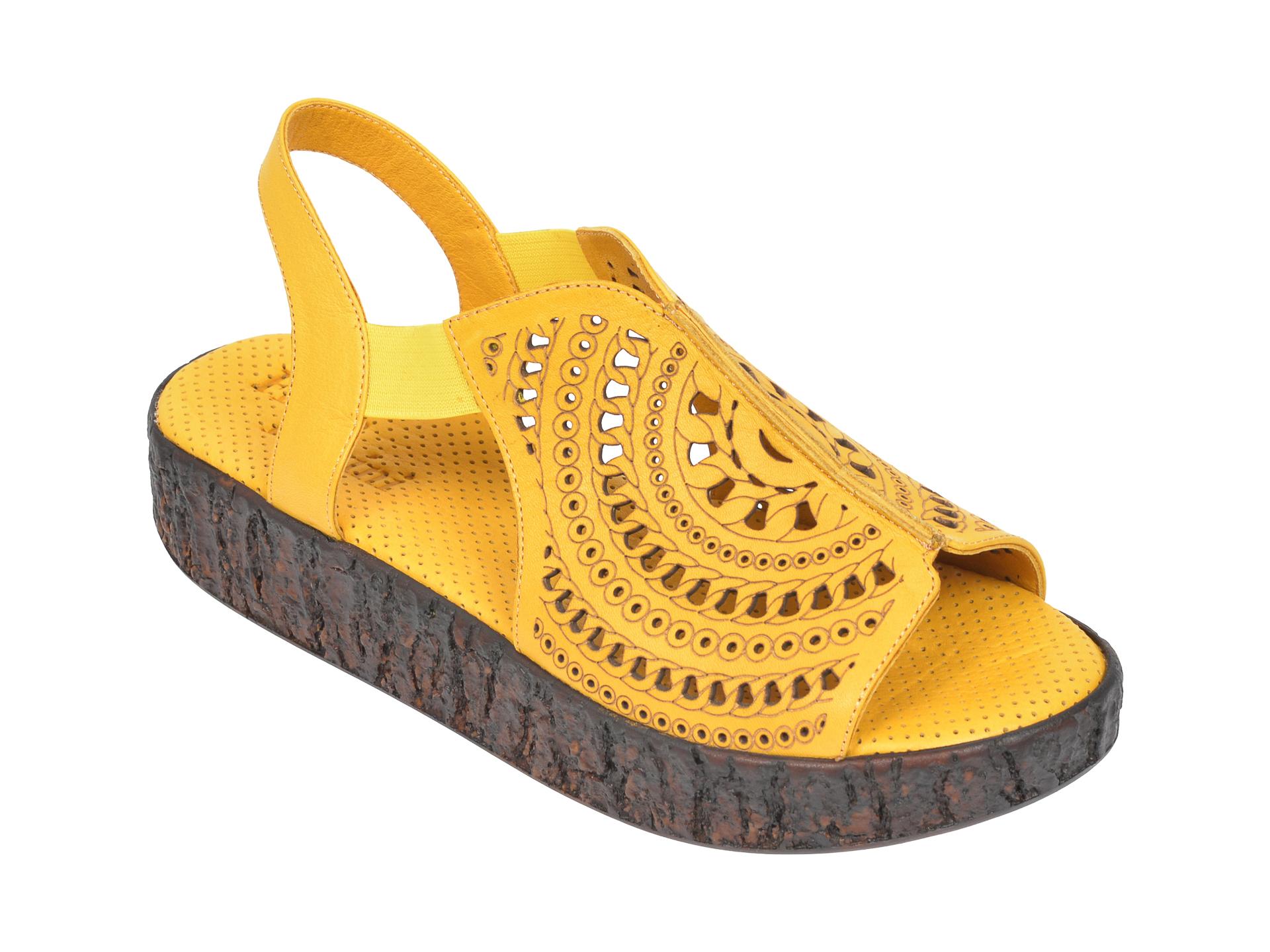 Sandale FLAVIA PASSINI galbene, 2100, din piele naturala