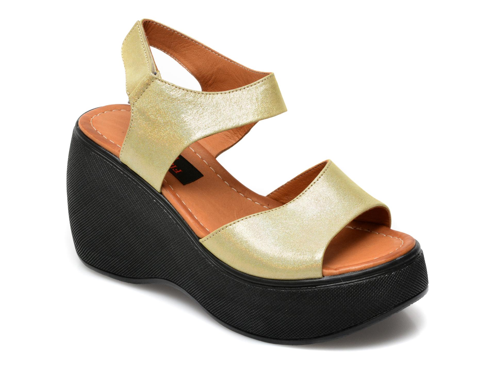 Sandale FLAVIA PASSINI galbene, 2482SH, din piele naturala