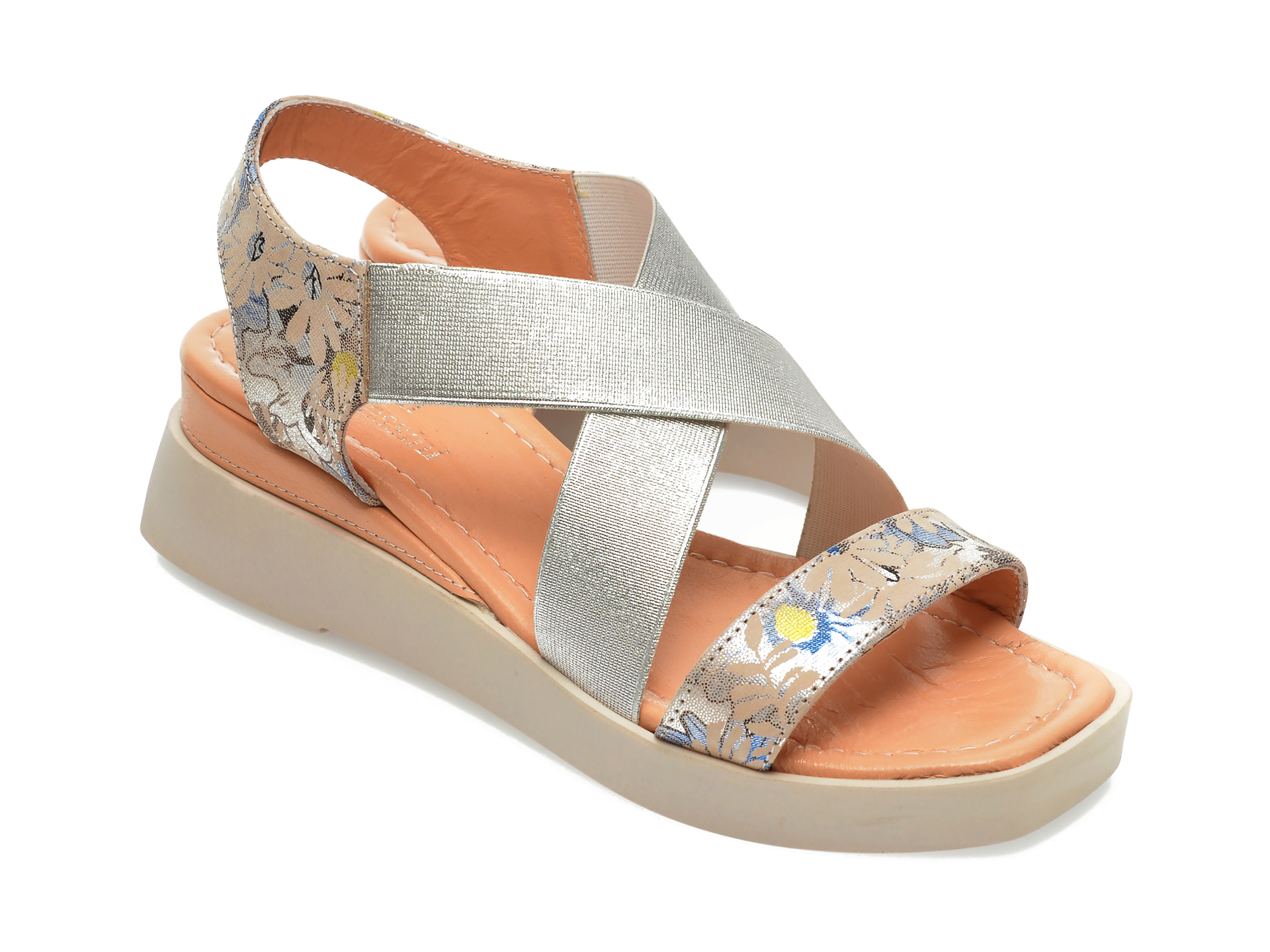 Sandale FLAVIA PASSINI gri, 40013, din material textil si piele ecologica New