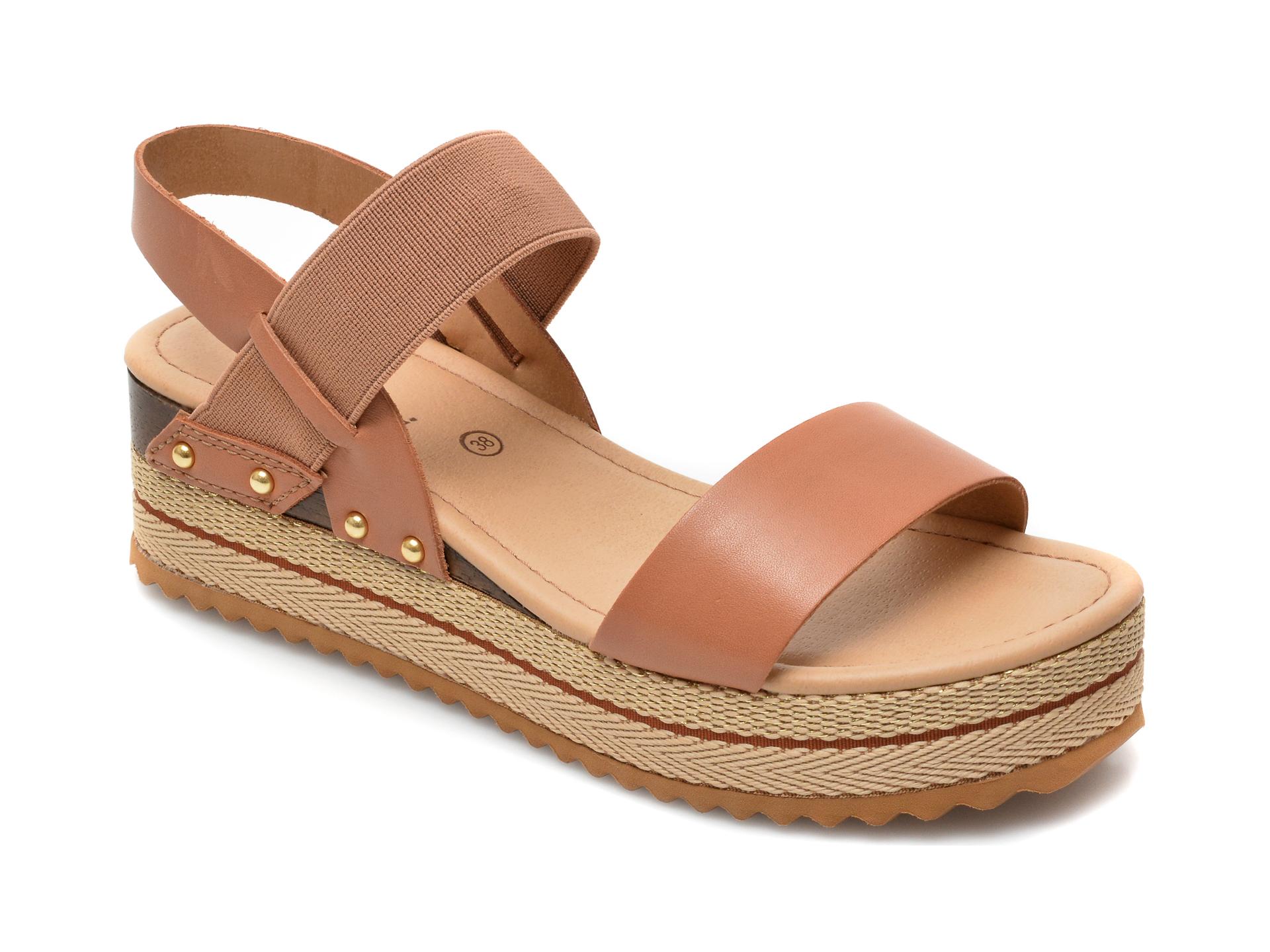 Sandale FLAVIA PASSINI maro, 320801, din piele naturala imagine otter.ro 2021