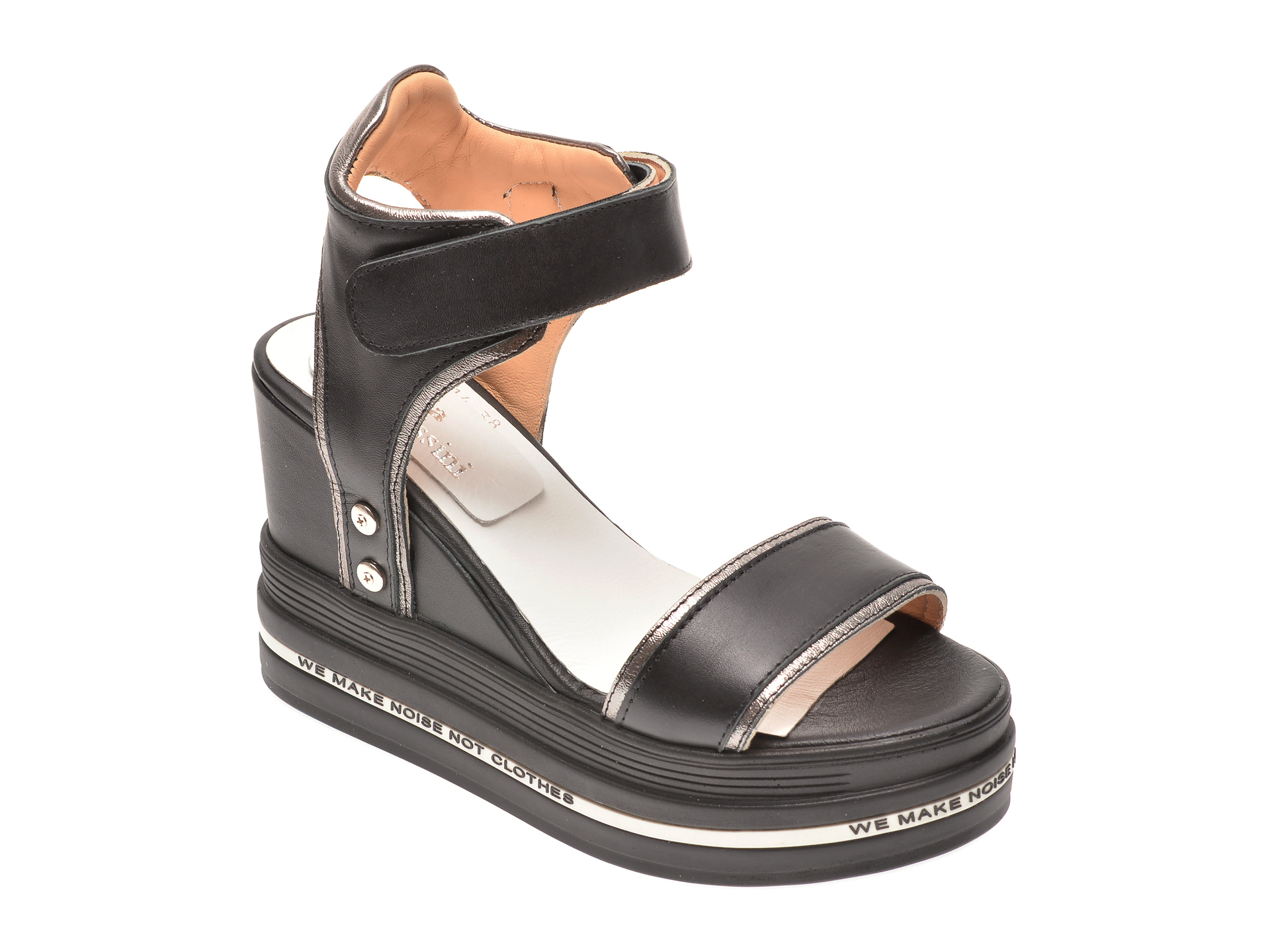 Sandale FLAVIA PASSINI negre, 135P88, din piele naturala
