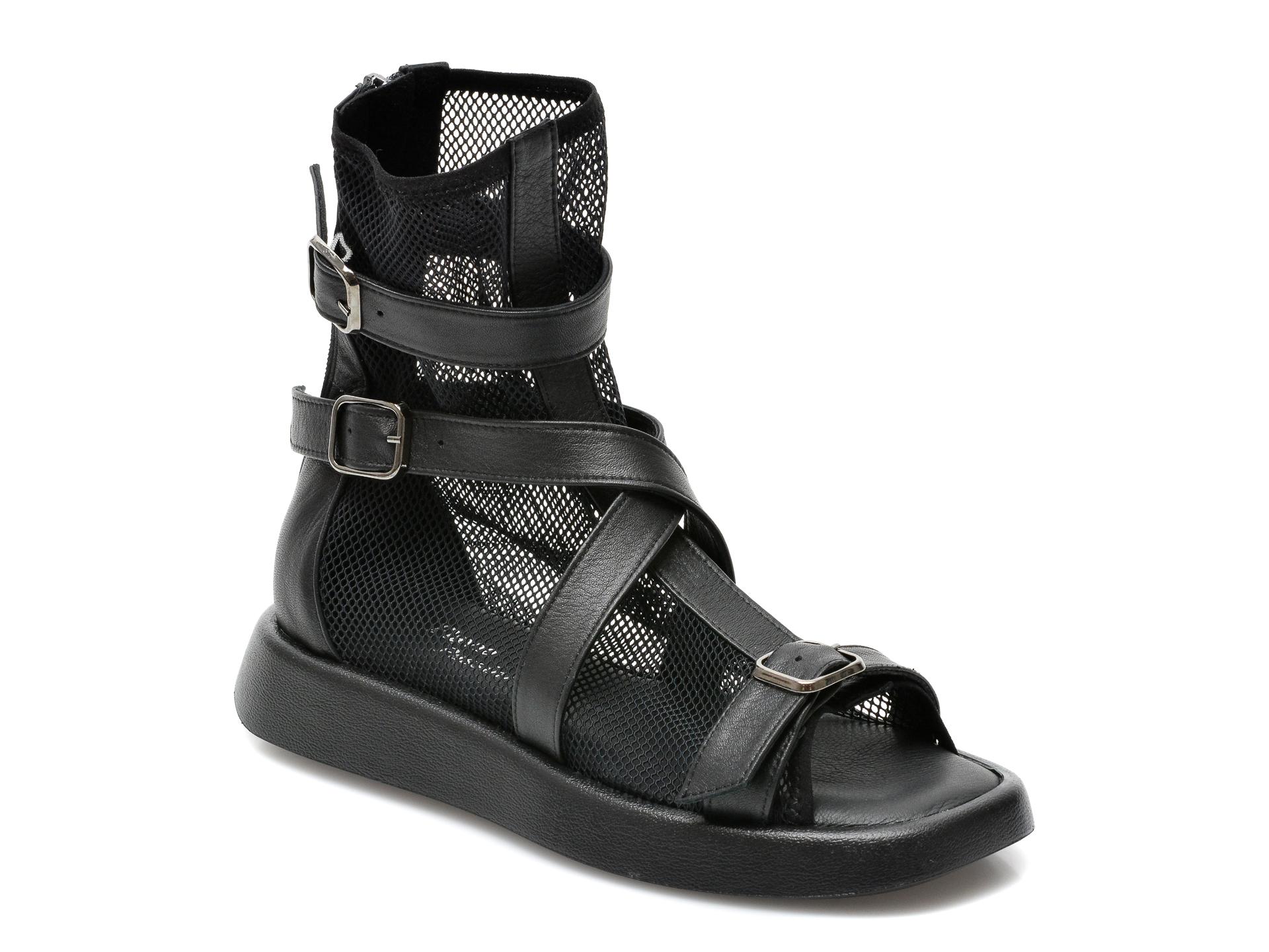 Sandale FLAVIA PASSINI negre, 44421Y3, din material textil si piele naturala imagine otter.ro 2021