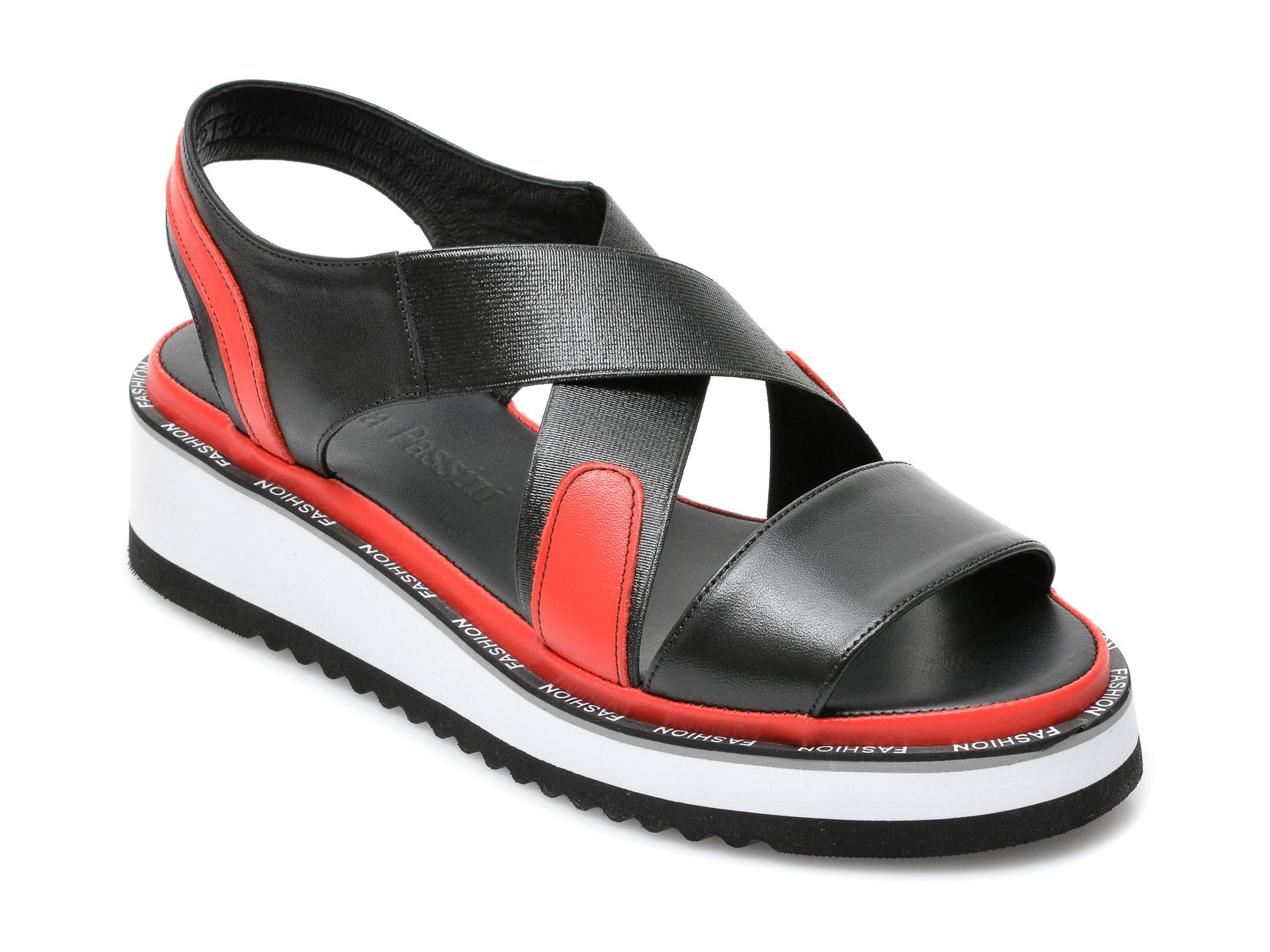 Sandale FLAVIA PASSINI negre, 591012, din material textil si piele naturala imagine otter.ro 2021