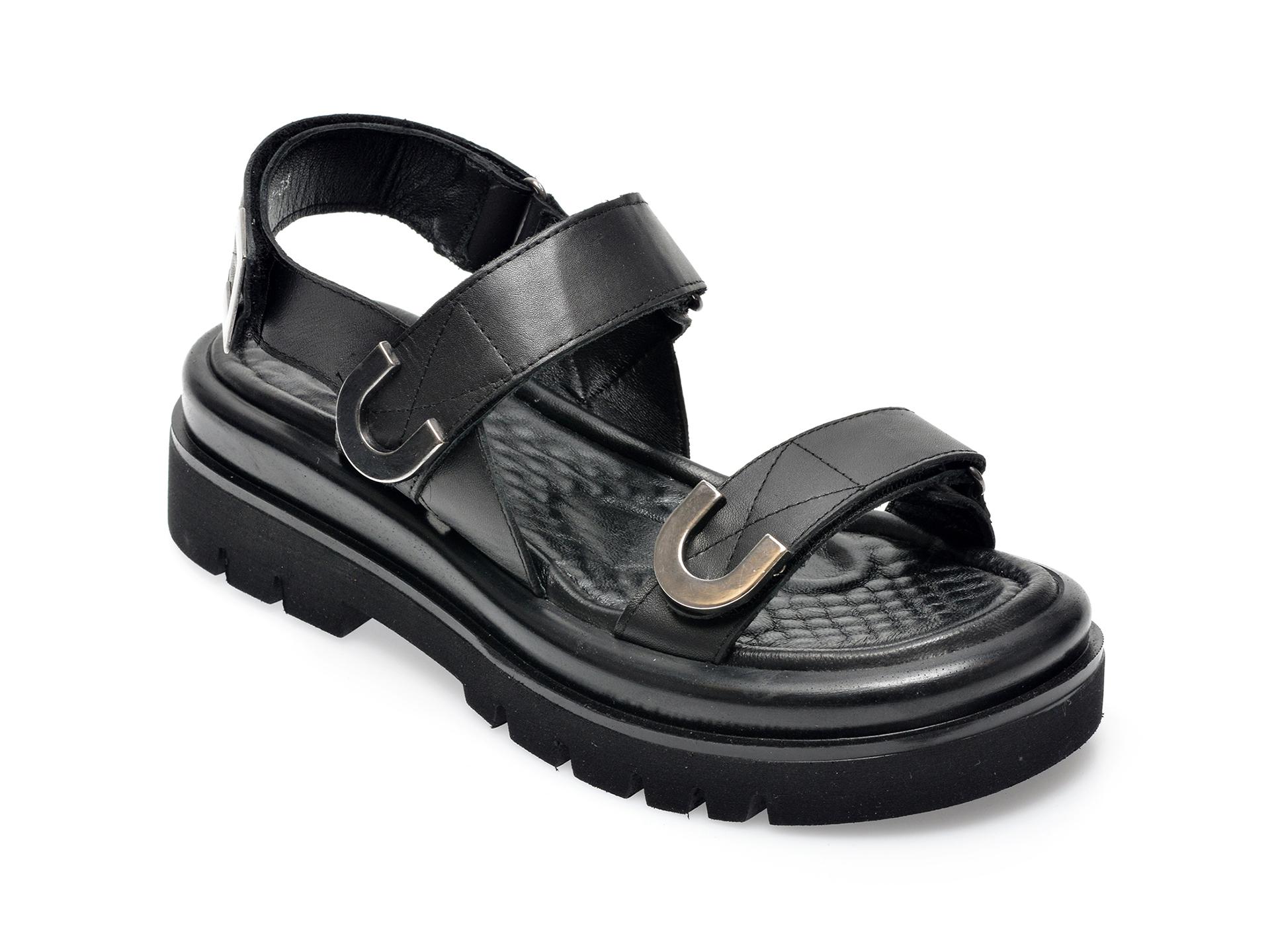 Sandale FLAVIA PASSINI negre, 632673, din piele naturala imagine otter.ro 2021