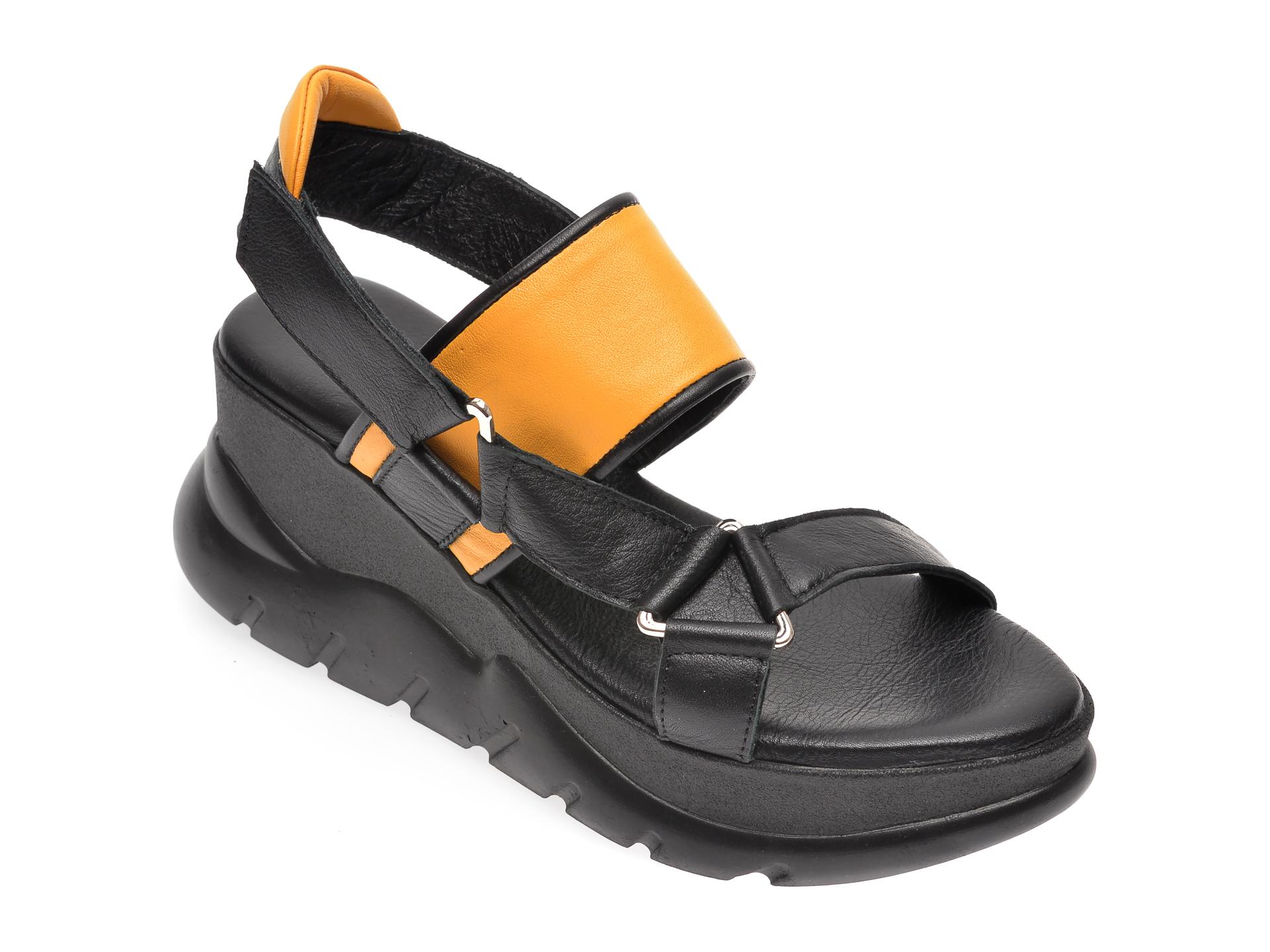 Sandale FLAVIA PASSINI negre, 743400, din piele naturala imagine