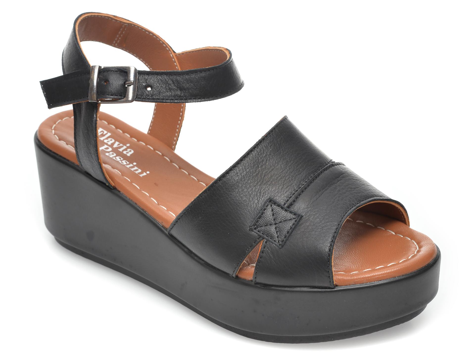Sandale FLAVIA PASSINI negre, 805, din piele naturala imagine otter.ro
