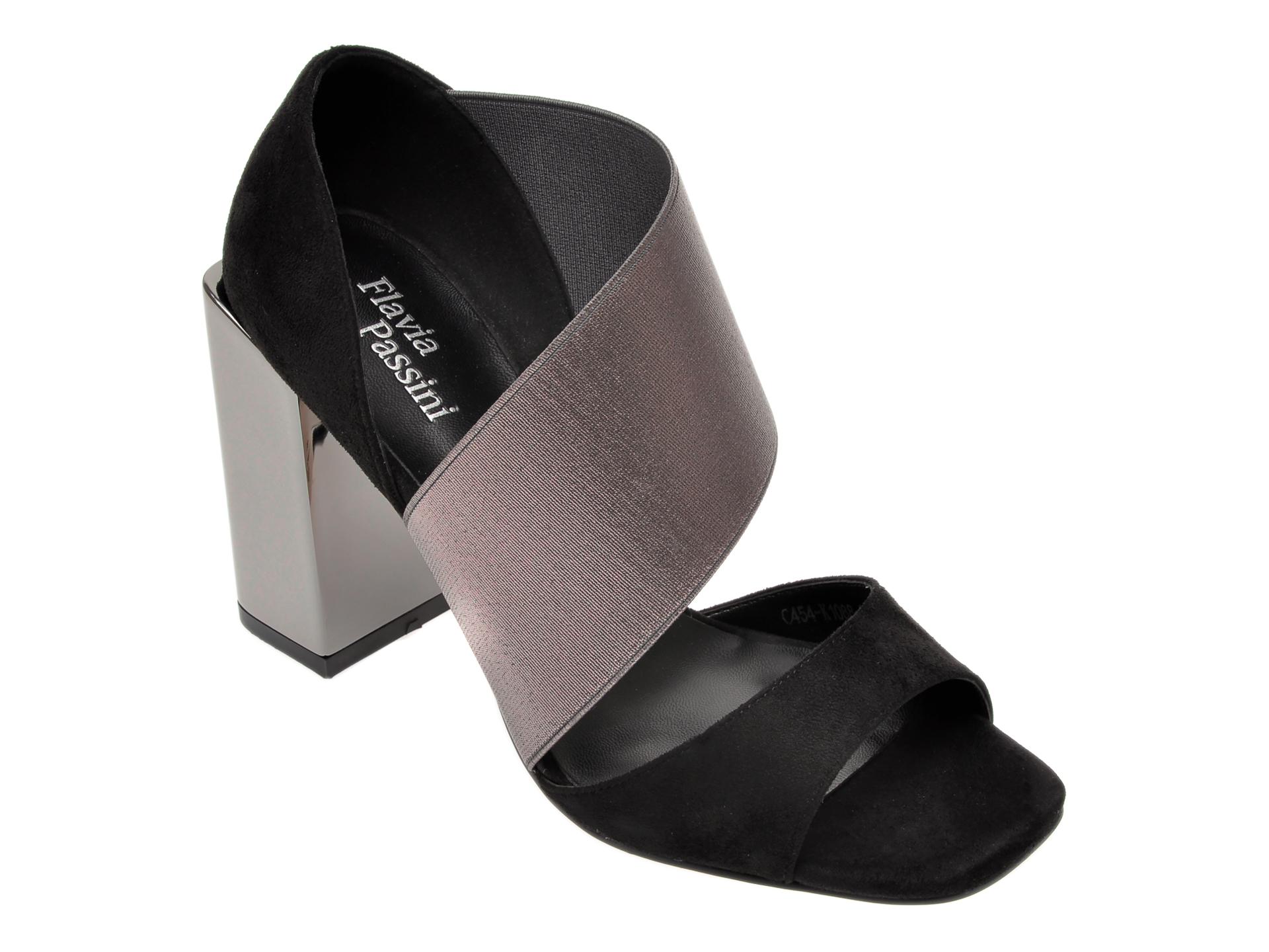 Sandale FLAVIA PASSINI negre, C454K10, din piele ecologica si material textil imagine