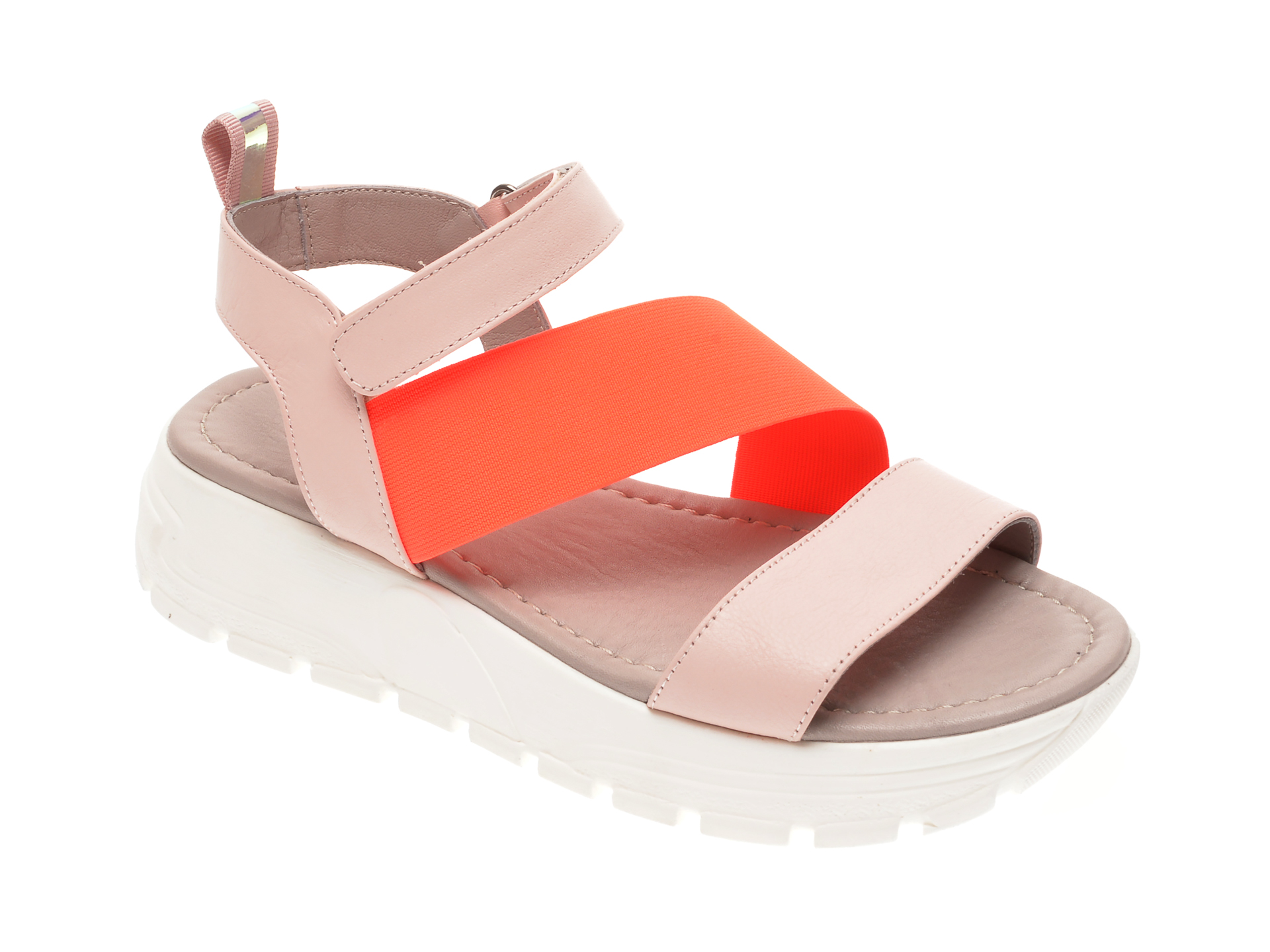 Sandale FLAVIA PASSINI nude, 0021671, din material textil si piele naturala