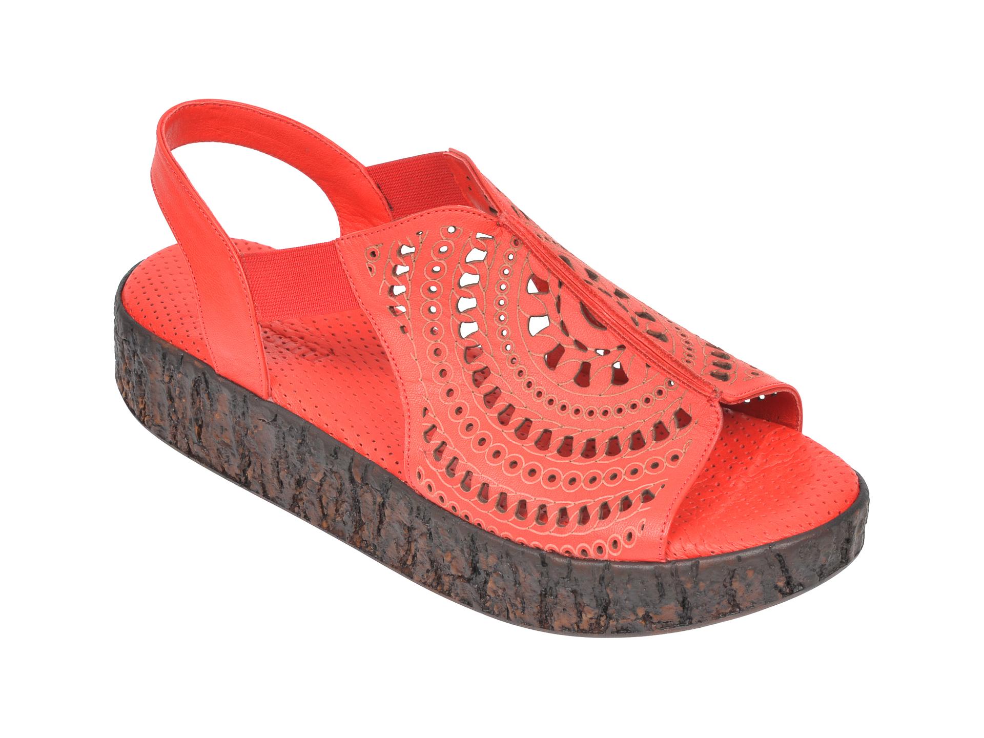 Sandale FLAVIA PASSINI rosii, 2100, din piele naturala imagine
