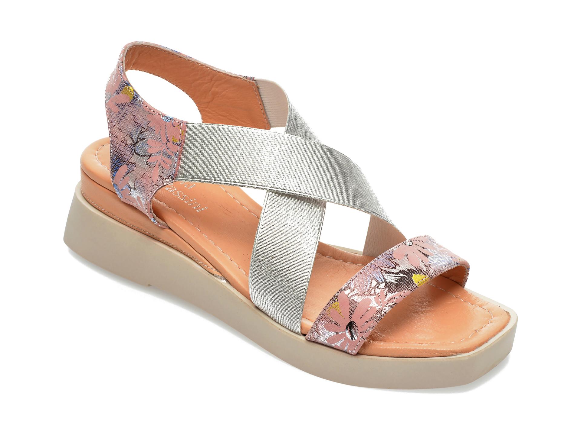Sandale FLAVIA PASSINI roz, 40013, din material textil si piele naturala imagine otter.ro