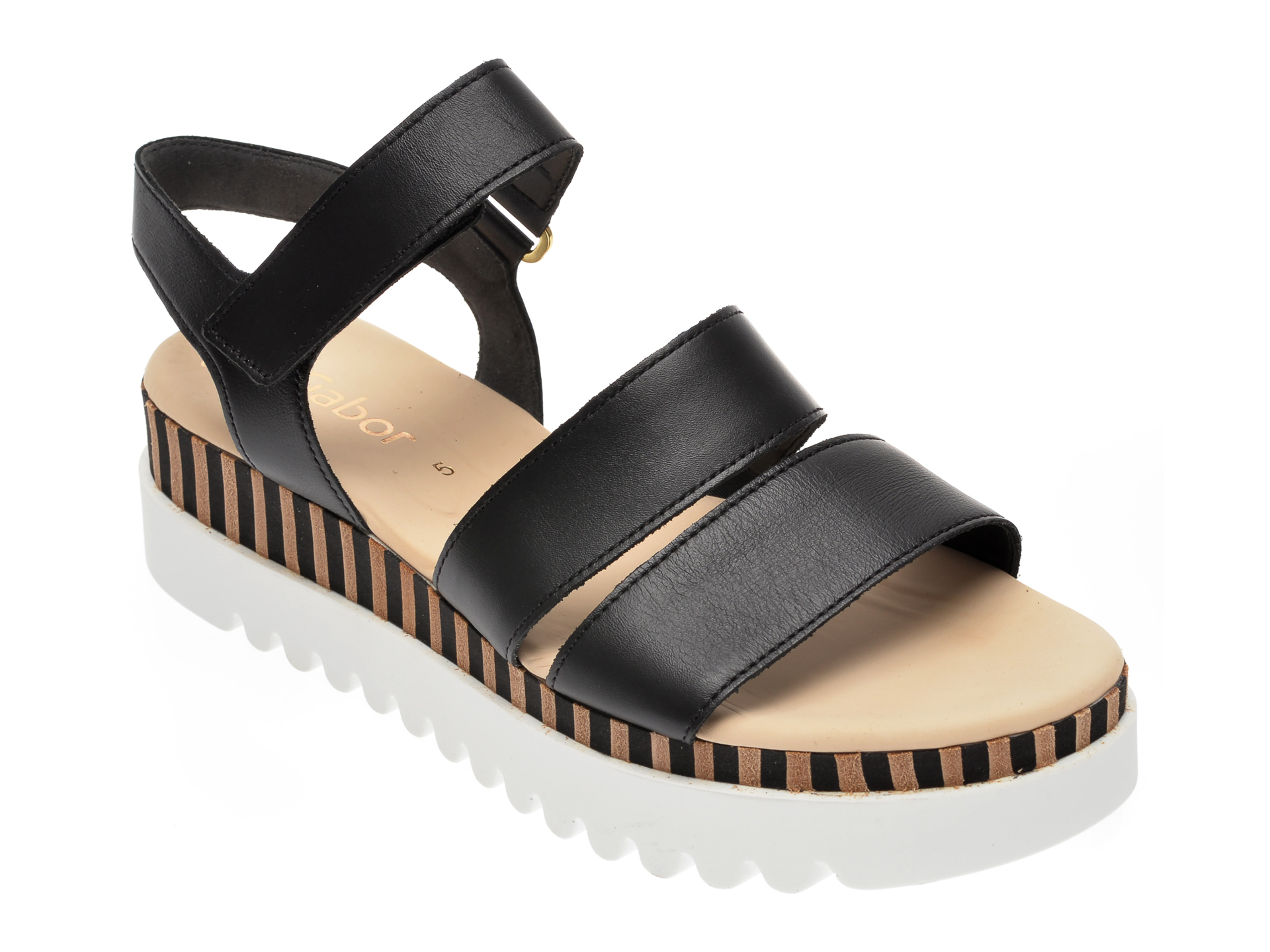 Sandale GABOR negre, 44660, din piele naturala
