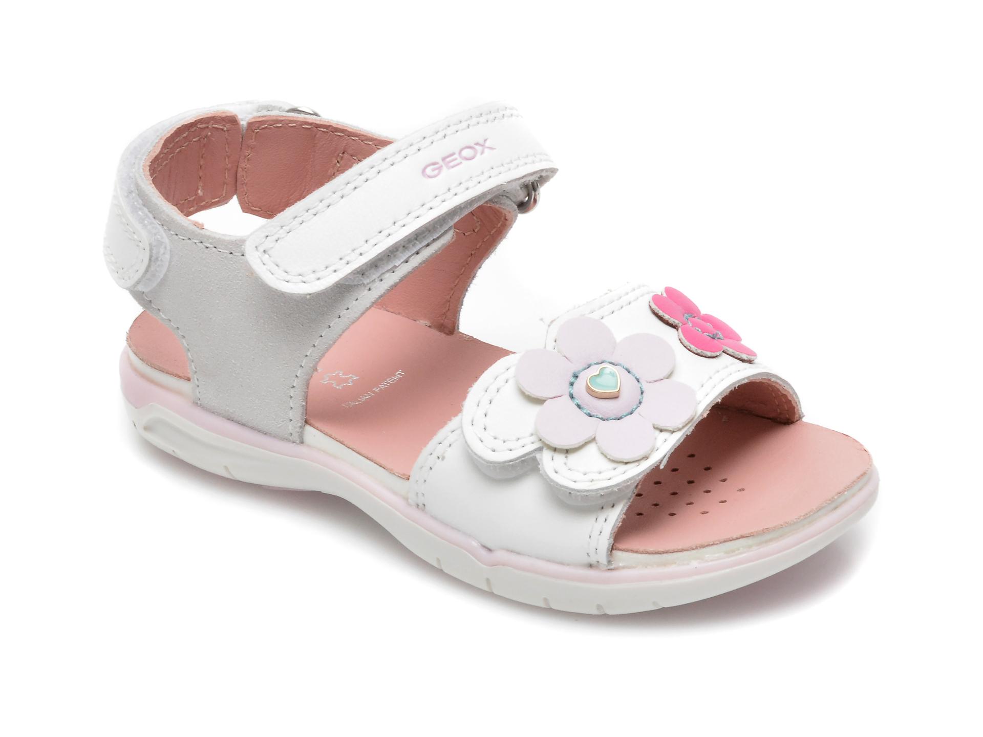 Sandale GEOX albe, B154MA, din piele naturala