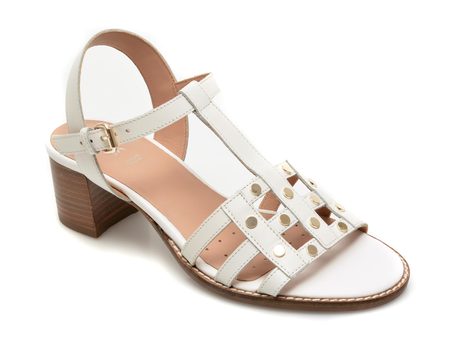 Sandale GEOX albe, D15NRB, din piele naturala New