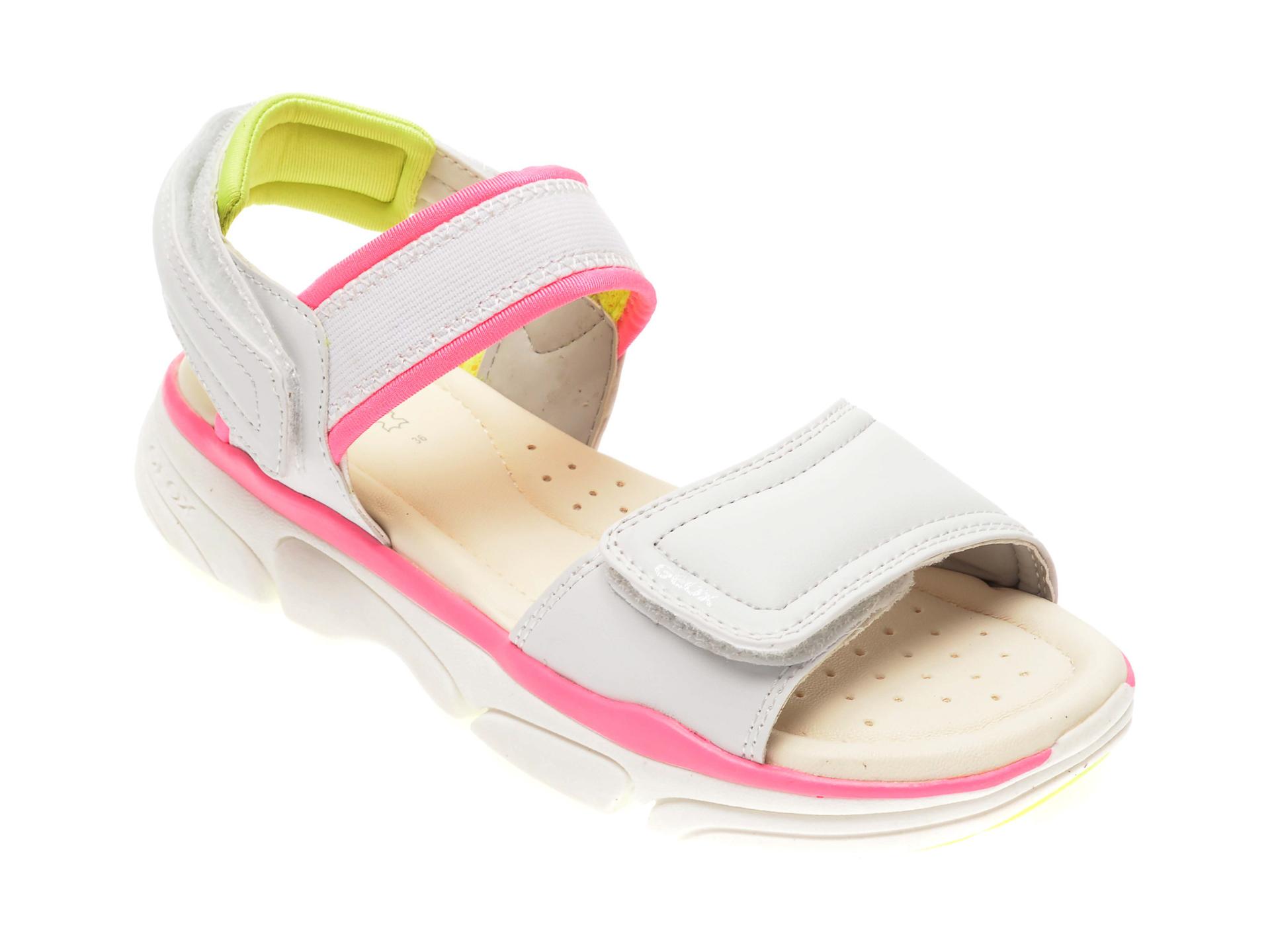 Sandale GEOX albe, D02GZB, din piele naturala