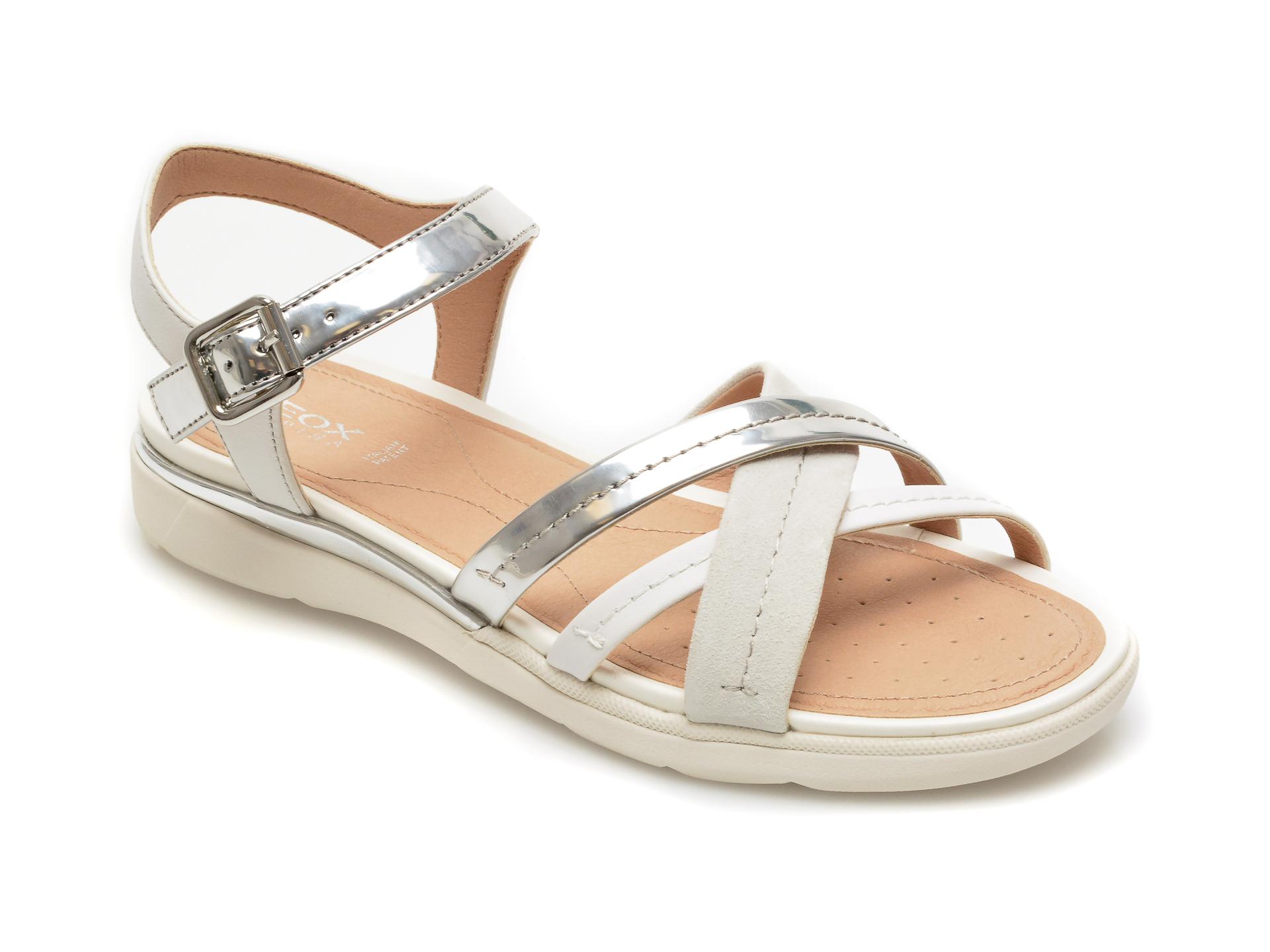 Sandale GEOX argintii, D02HBD, din piele naturala