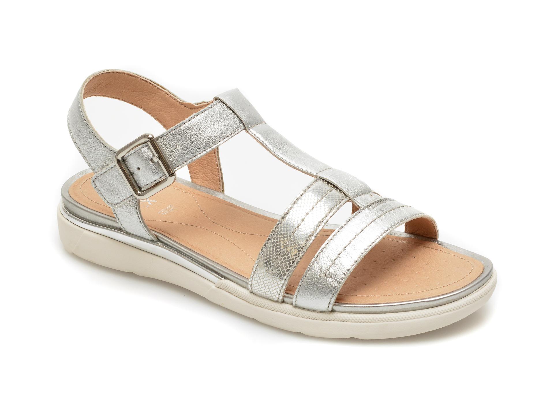Sandale GEOX argintii, D02GZB, din piele naturala New