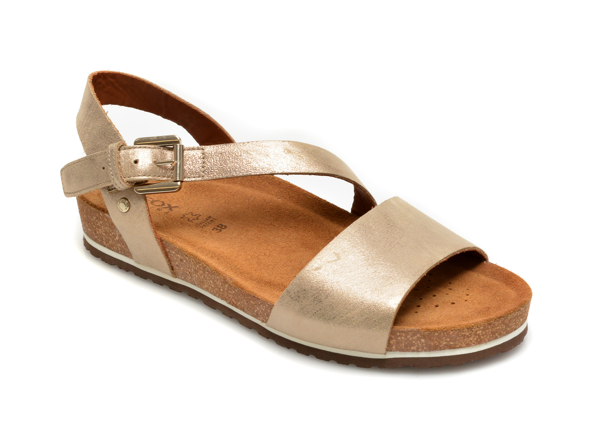 Sandale GEOX aurii, D02LUB, din piele naturala